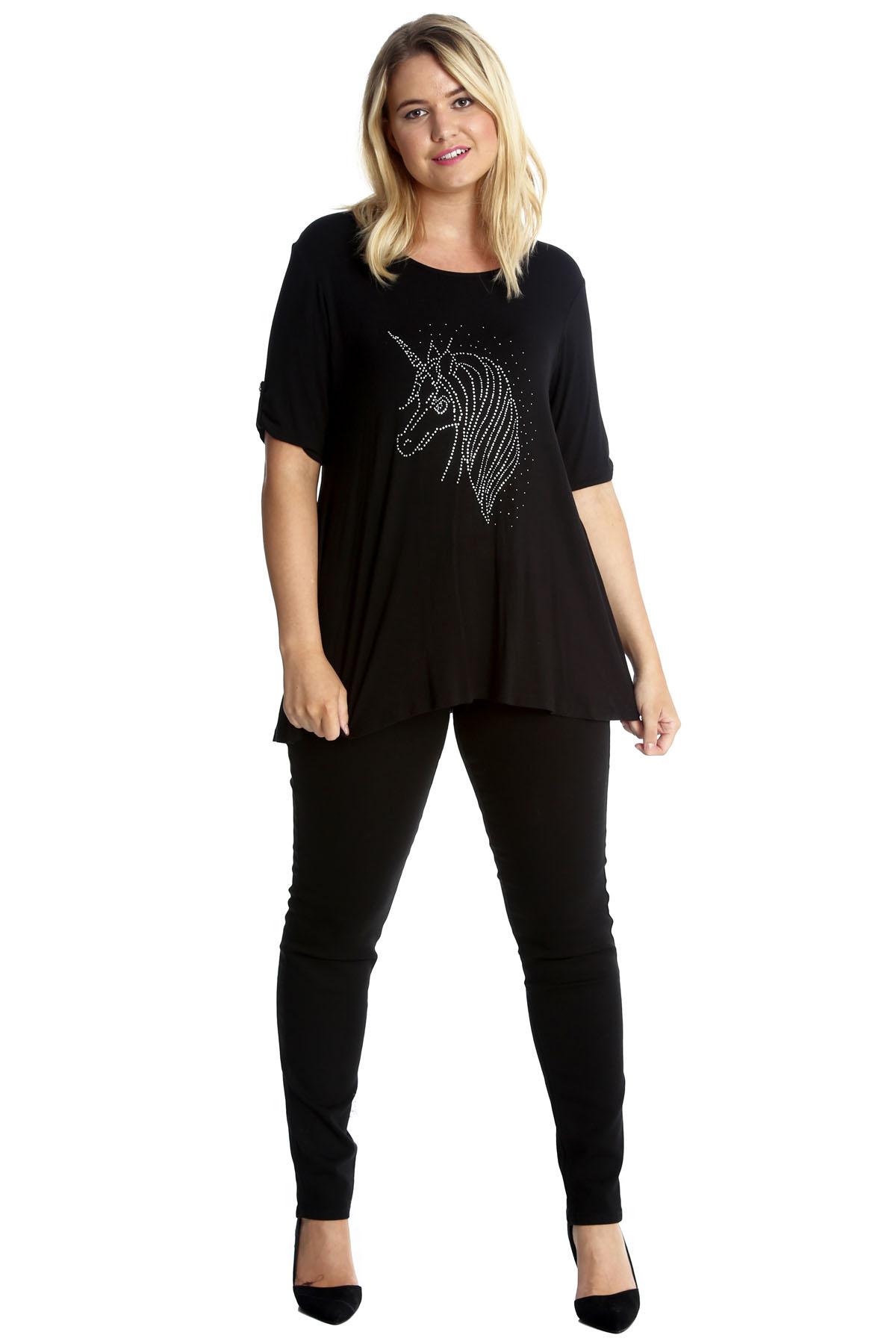 Neues Frauen Hemd Übergröße Einhorn 2 Knopf-T-Shirt Damen Straßsteine Nouvelle