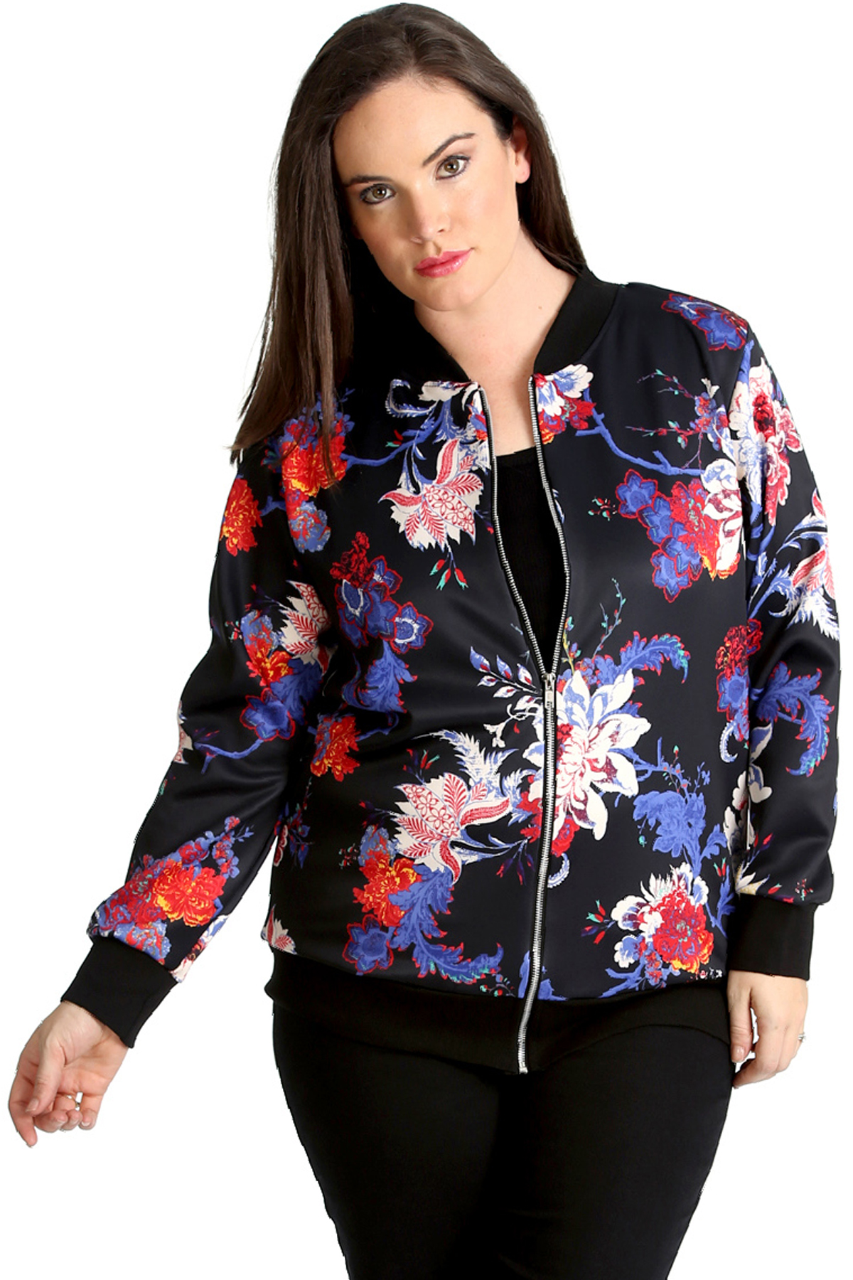 New Womens Plus Size Bomber Jacket Ladies Floral Print Rib Jungle Sale Quality