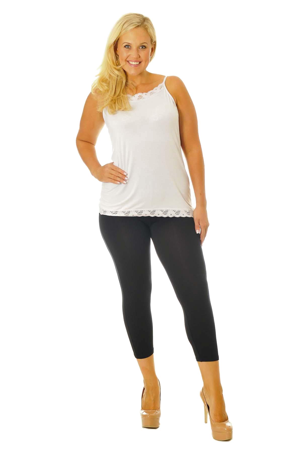 New Womens Leggings Plus Size Ladies Cropped Trouser Soft Stretch Capri Nouvelle