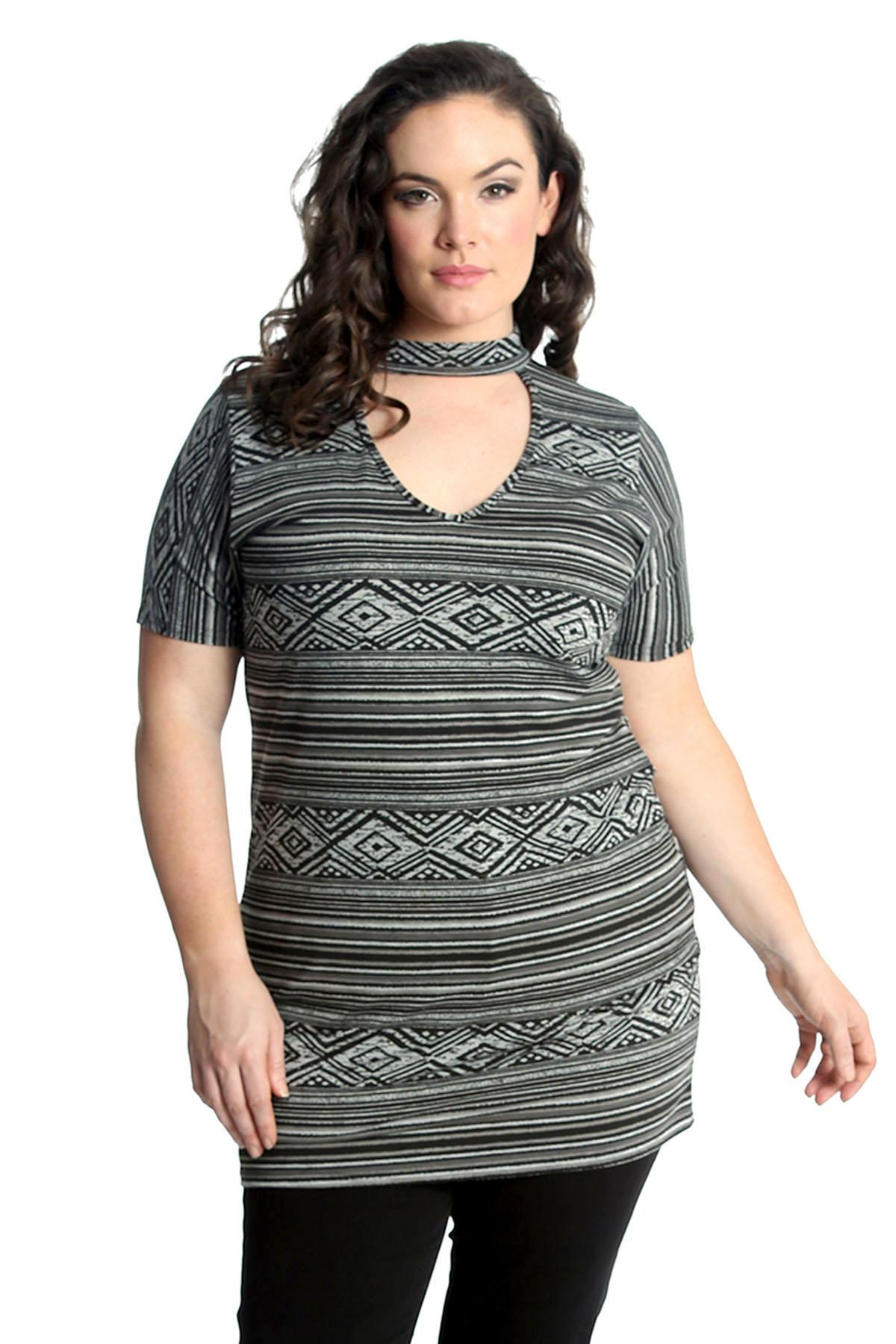 New-Ladies-Top-Plus-Size-Womens-T-Shirt-Aztec-Print-Tunic-Choker-Neck-Nouvelle