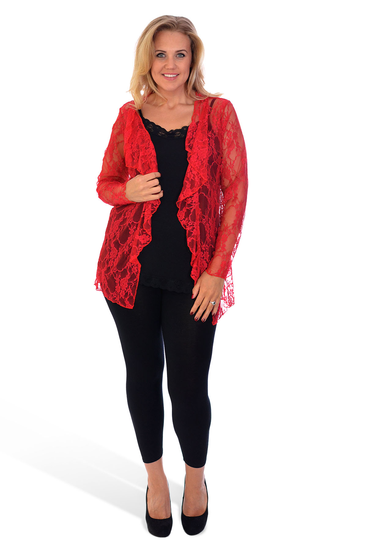 New Womens Plus Size Cardigan Floral Lace Long Sleeve ...