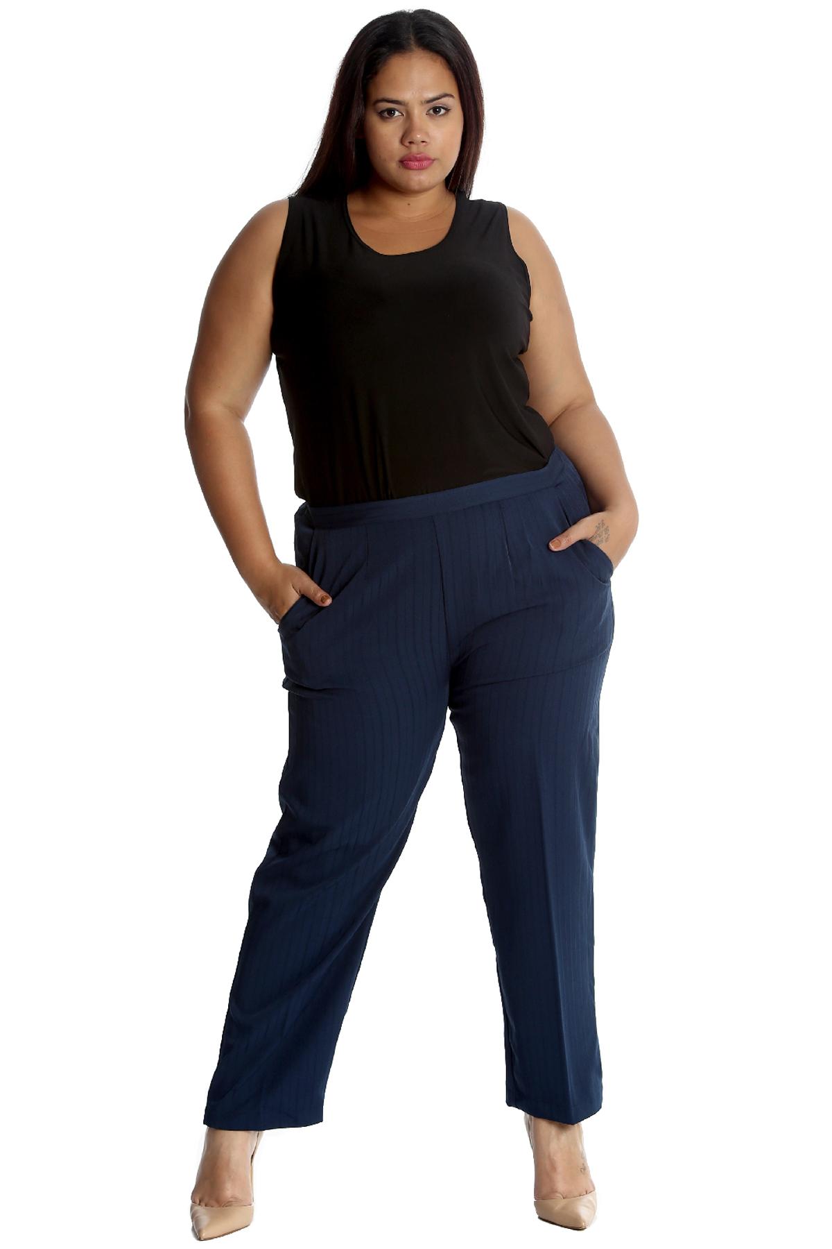 New Womens Plus Size Trousers Ladies Pants Self Stripe ...