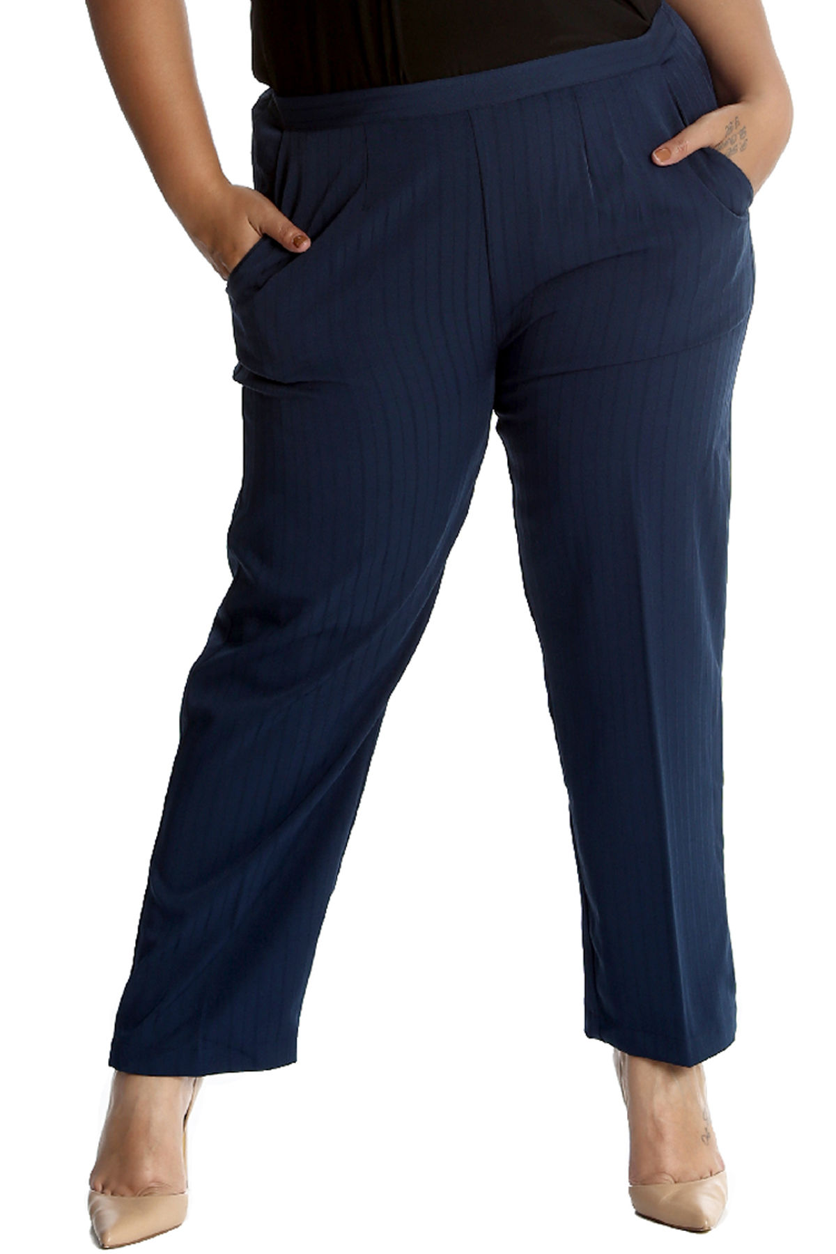 New Womens Trousers Plus Size Ladies Pants Self Stripe Pockets Formal Long Sale | EBay