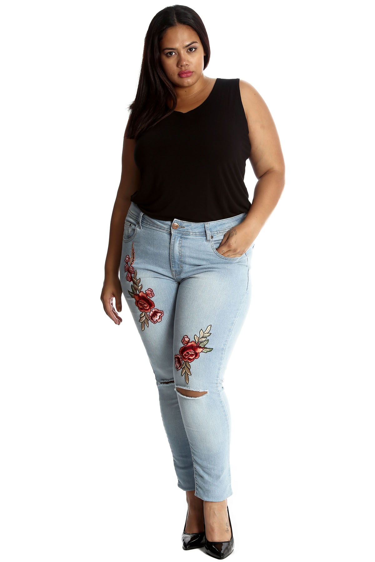 neu frauen bergr e jeans damen hose floral bestickt pant patch modern nouvelle ebay. Black Bedroom Furniture Sets. Home Design Ideas