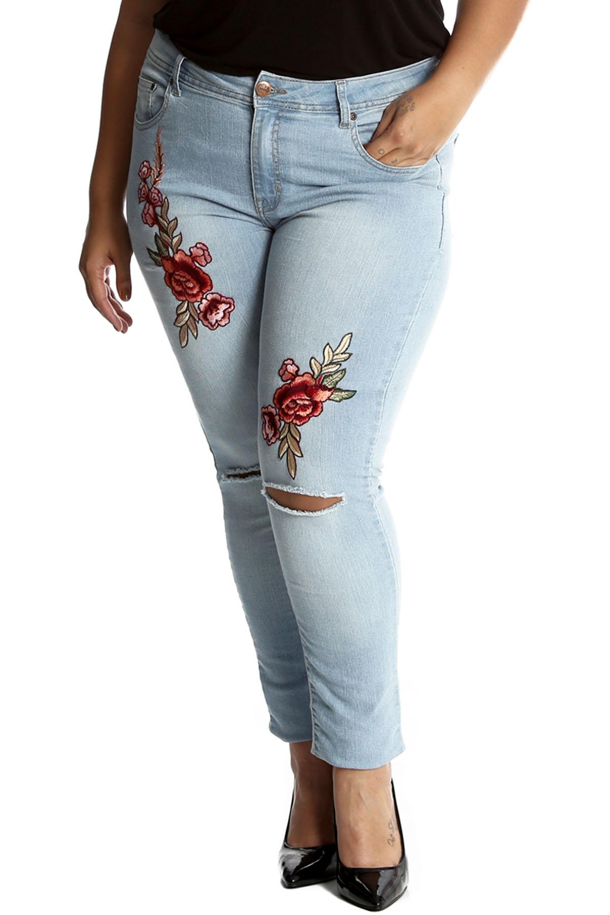 neu frauen bergr e jeans damen hose floral bestickt pant. Black Bedroom Furniture Sets. Home Design Ideas