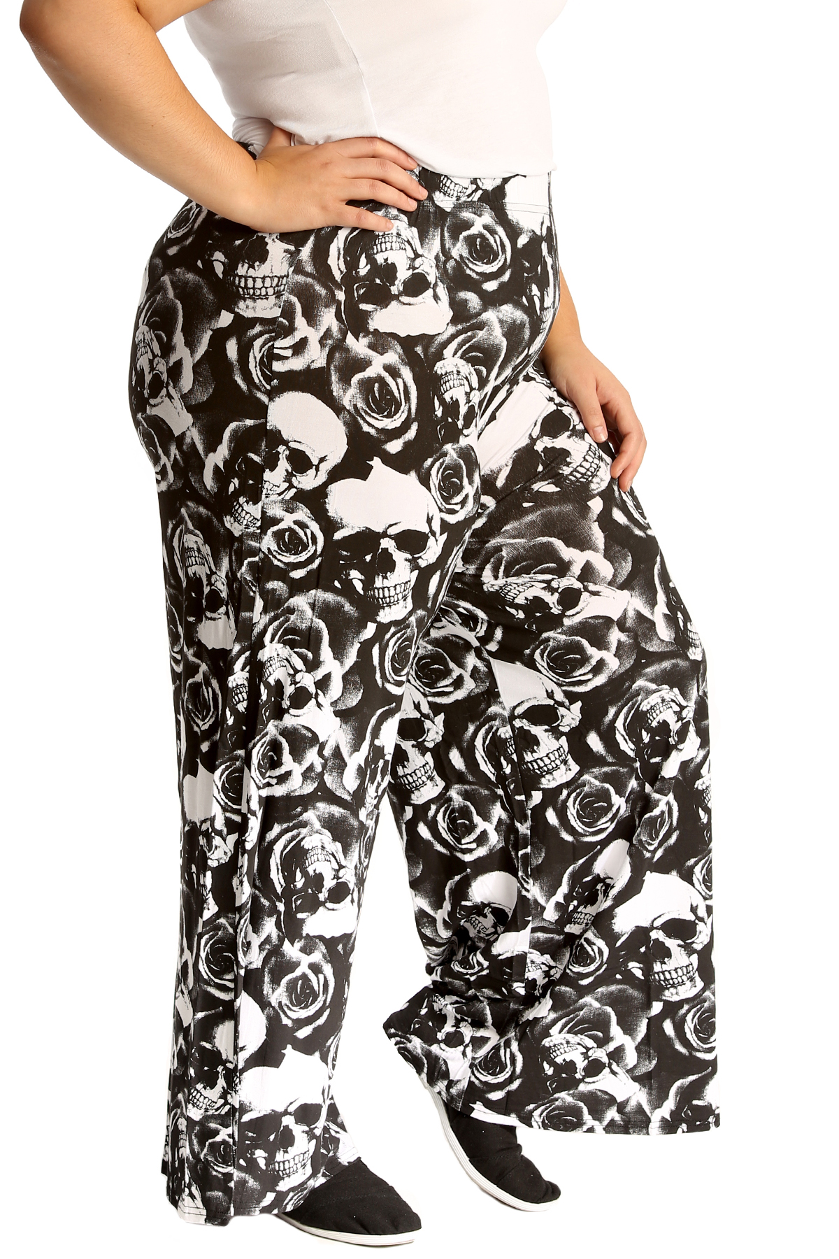 e8d579bd182 Details about New Womens Plus Size Palazzo Trouser Ladies Skull   Roses  Print Gothic Bottoms