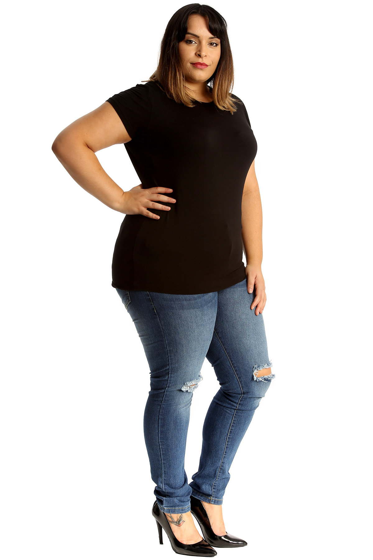 new ladies plus size jeans womens ripped frayed straight