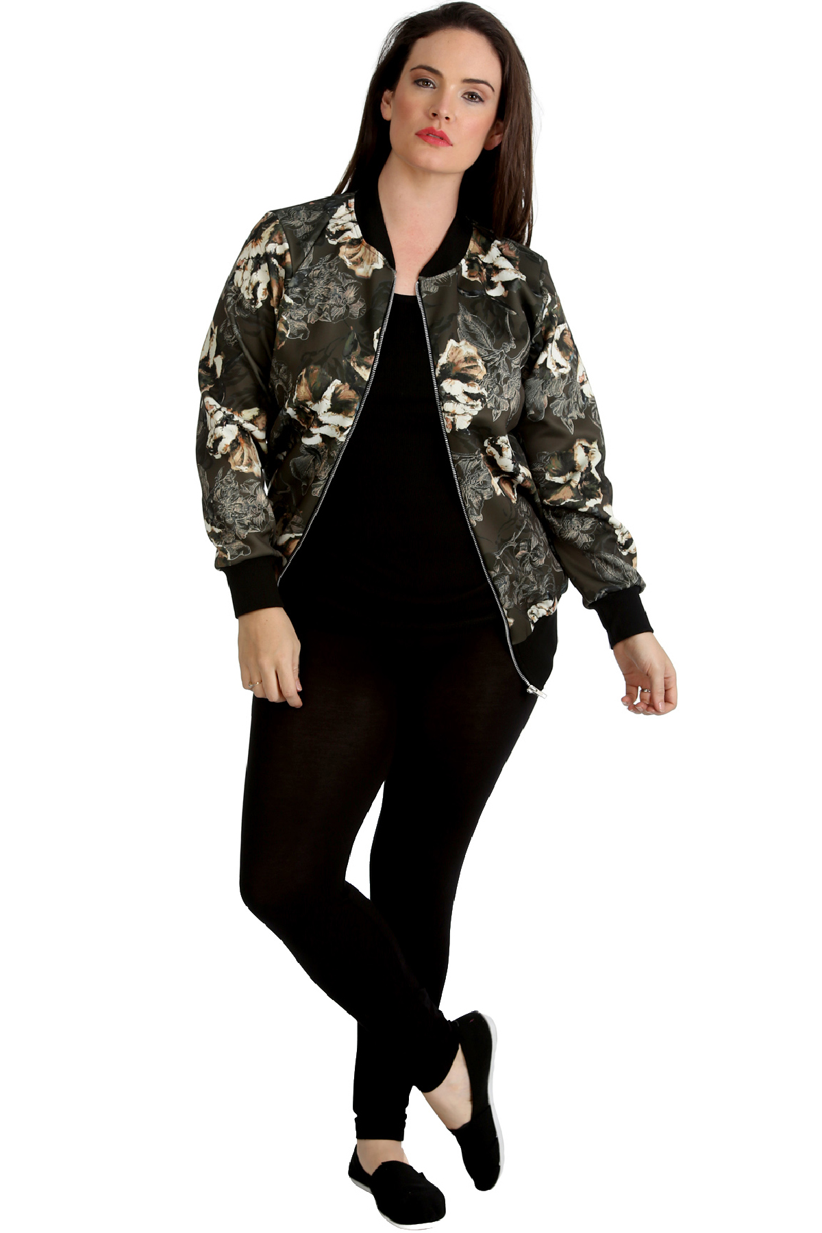 New Ladies Plus Size Bomber Jacket Womens Abstract Floral Print Soft Sale Ribbed