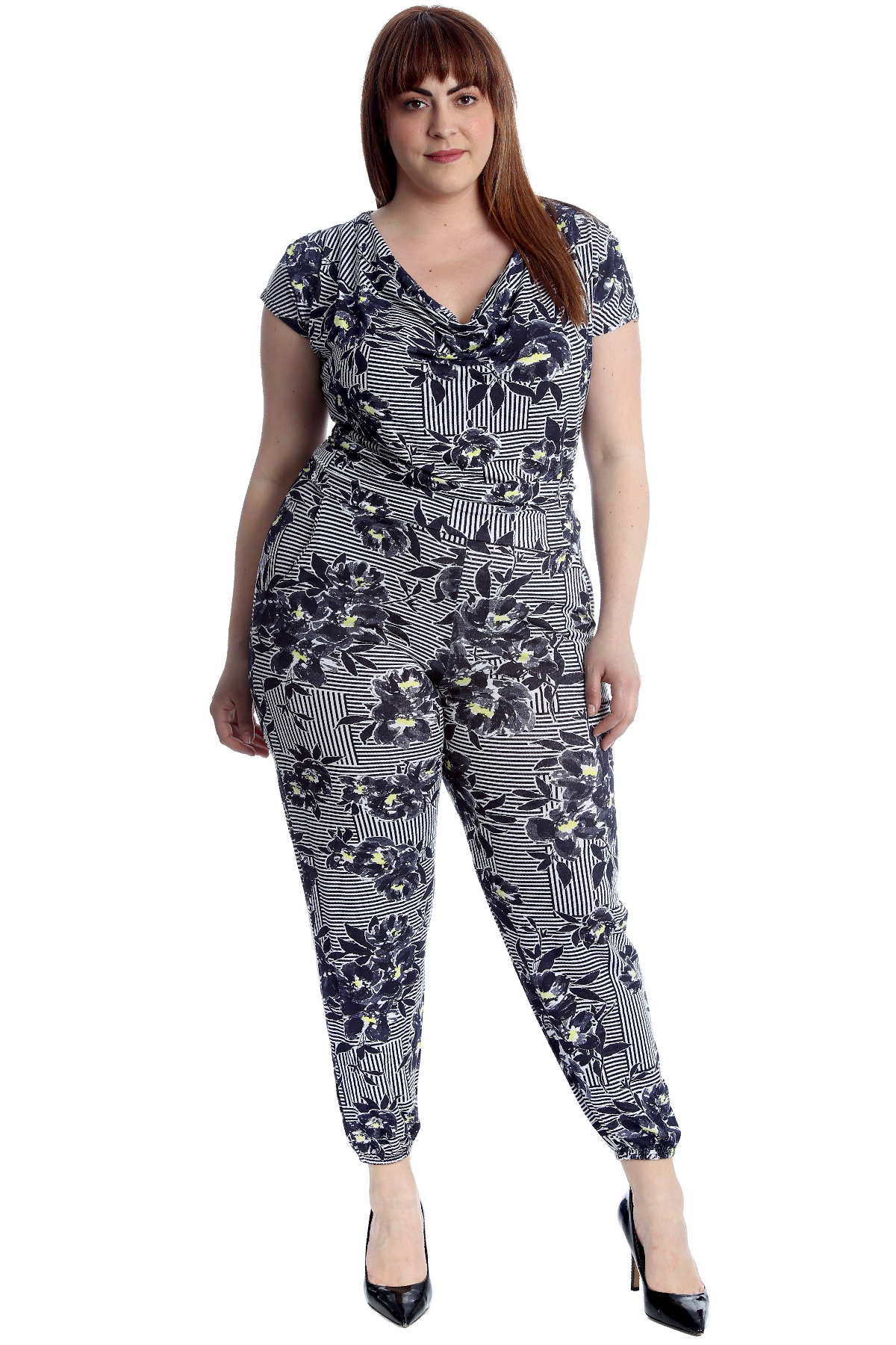 e937af2182 New Womens Plus Size Jumpsuit Ladies Floral Stripe Print Cap Sleeves ...