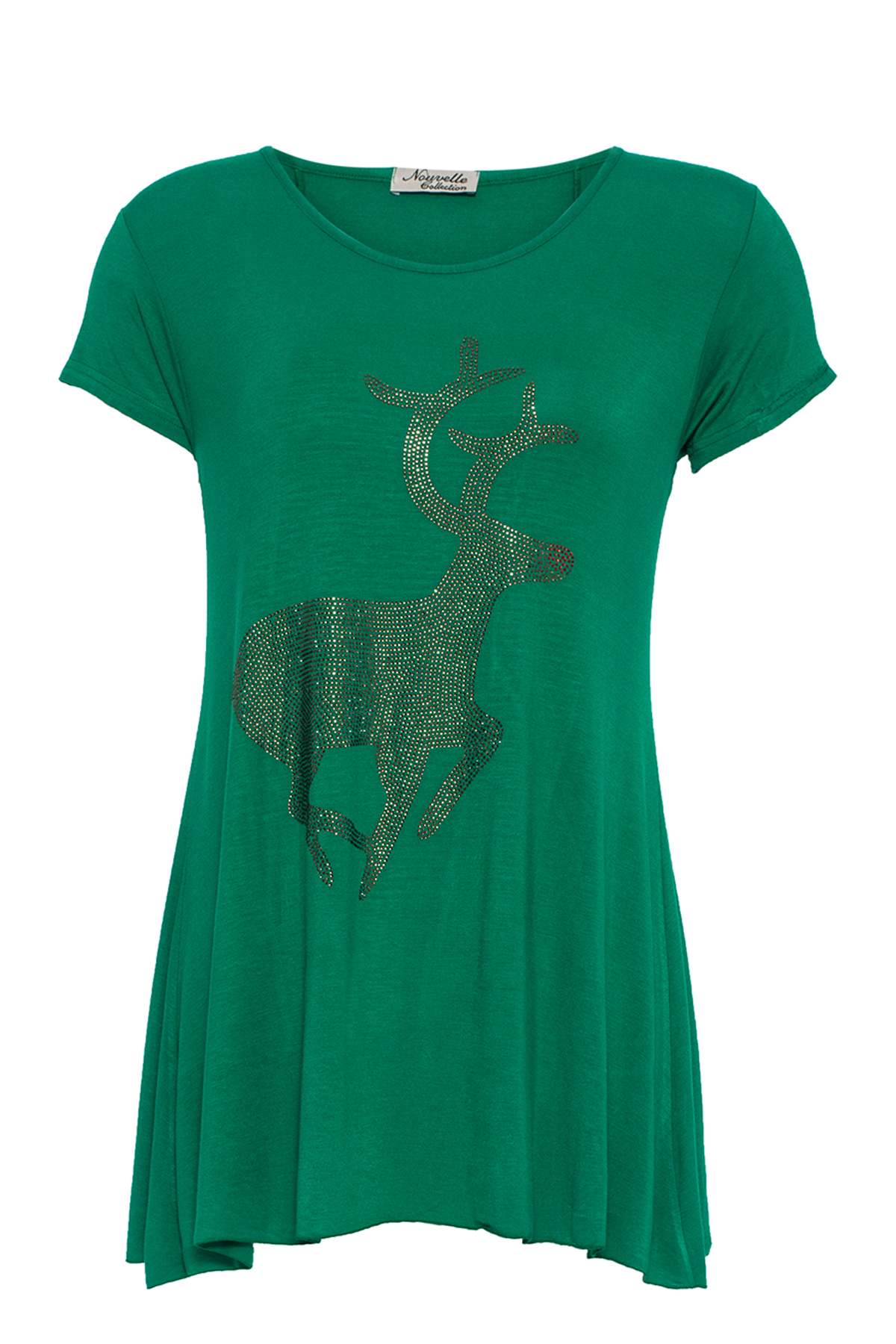 New-Ladies-Christmas-Top-Plus-Size-Studded-Reindeer-Womens-Party-Animal-Nouvelle