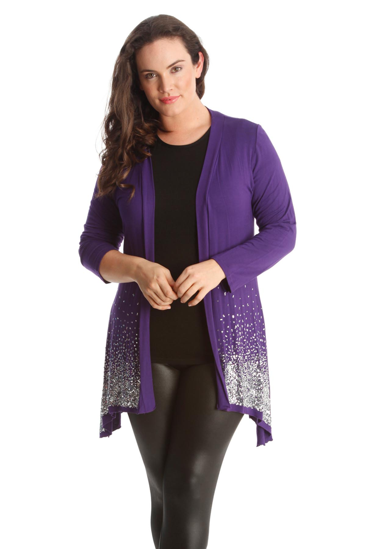 New Womens Plus Size Cardigan Ladies Sequin Border Glitter Long ...