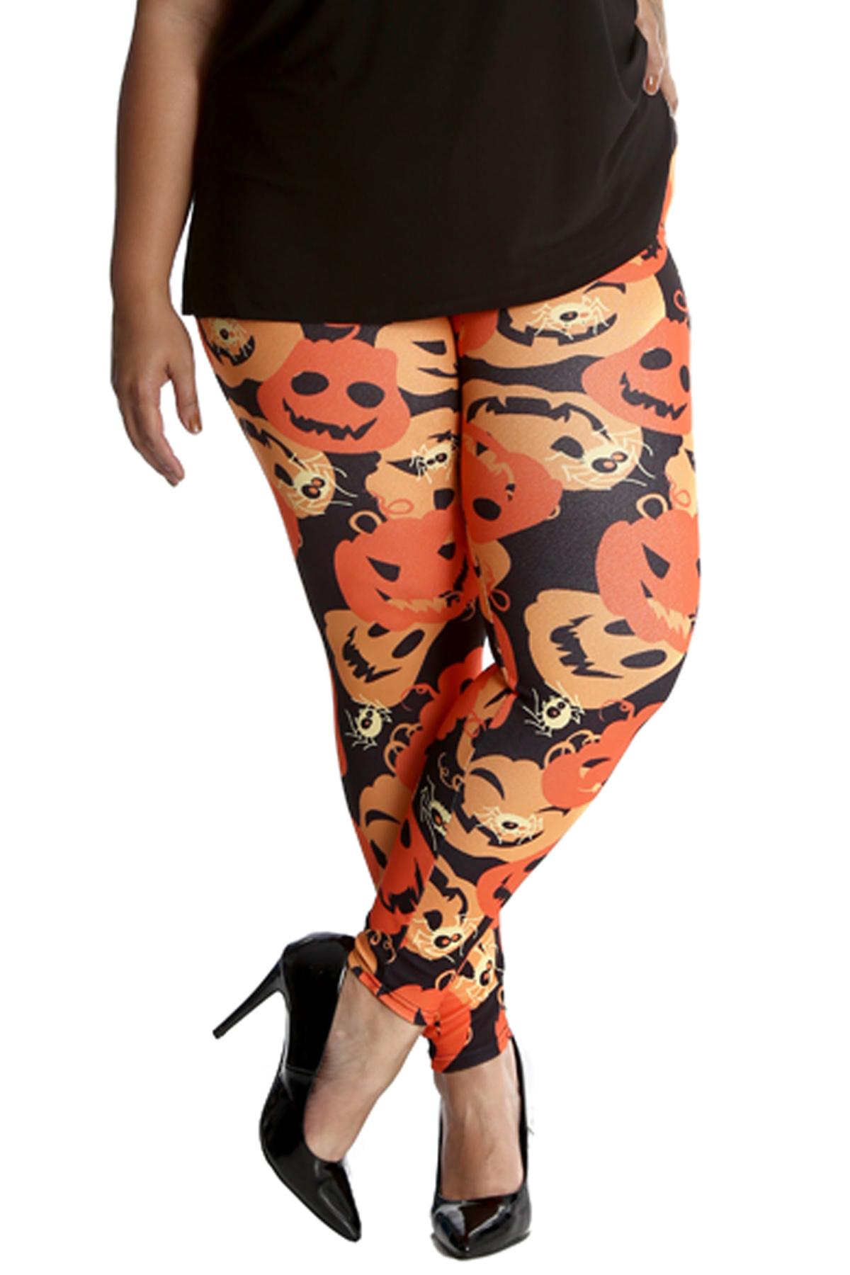cfcbc1b0814d6 New Ladies Plus Size Leggings Womens Halloween Spooky Spider Pumpkin ...