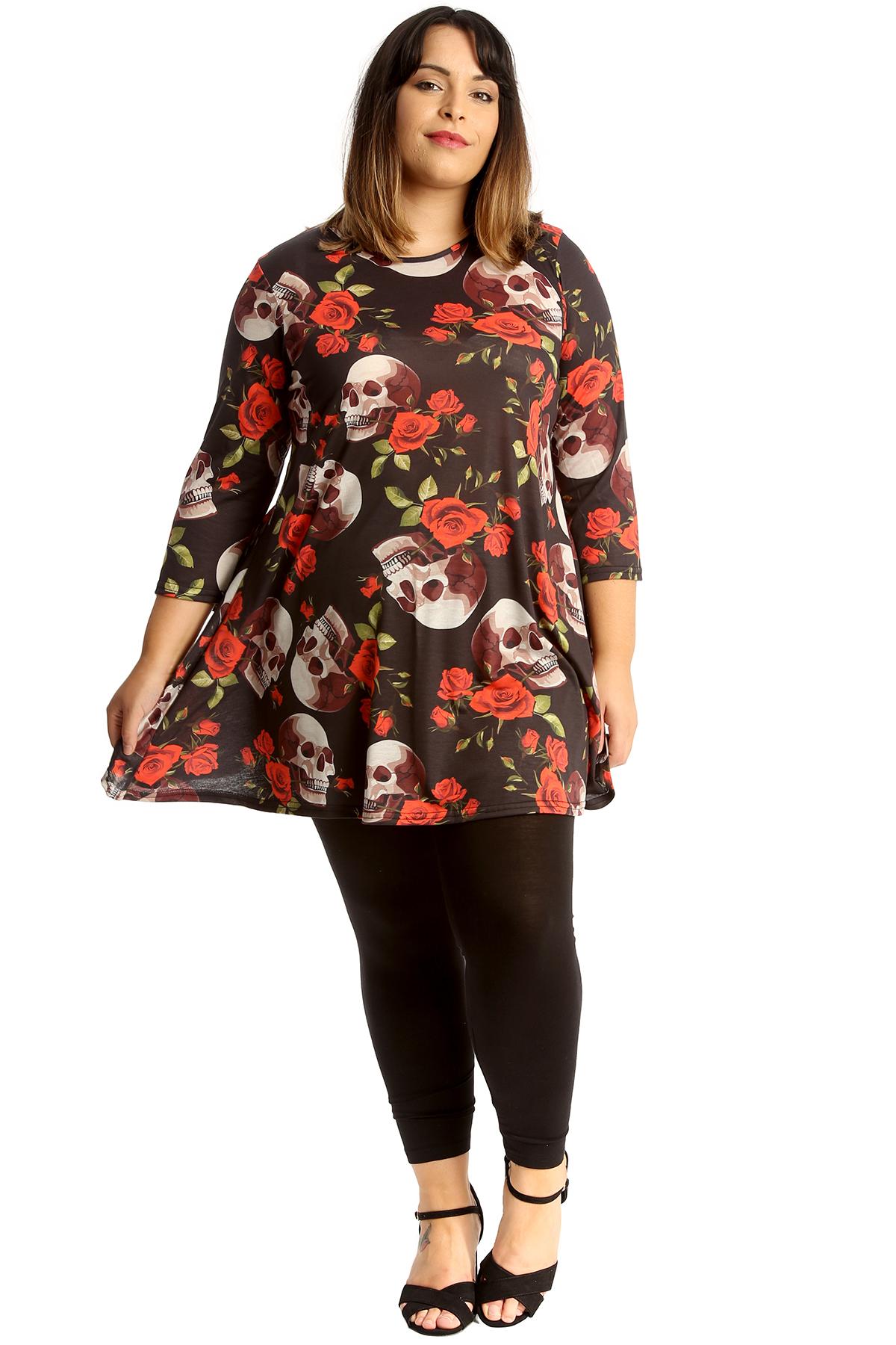 abb99578d533d New Womens Plus Size Swing Top Ladies Skull & Roses Print Skater ...