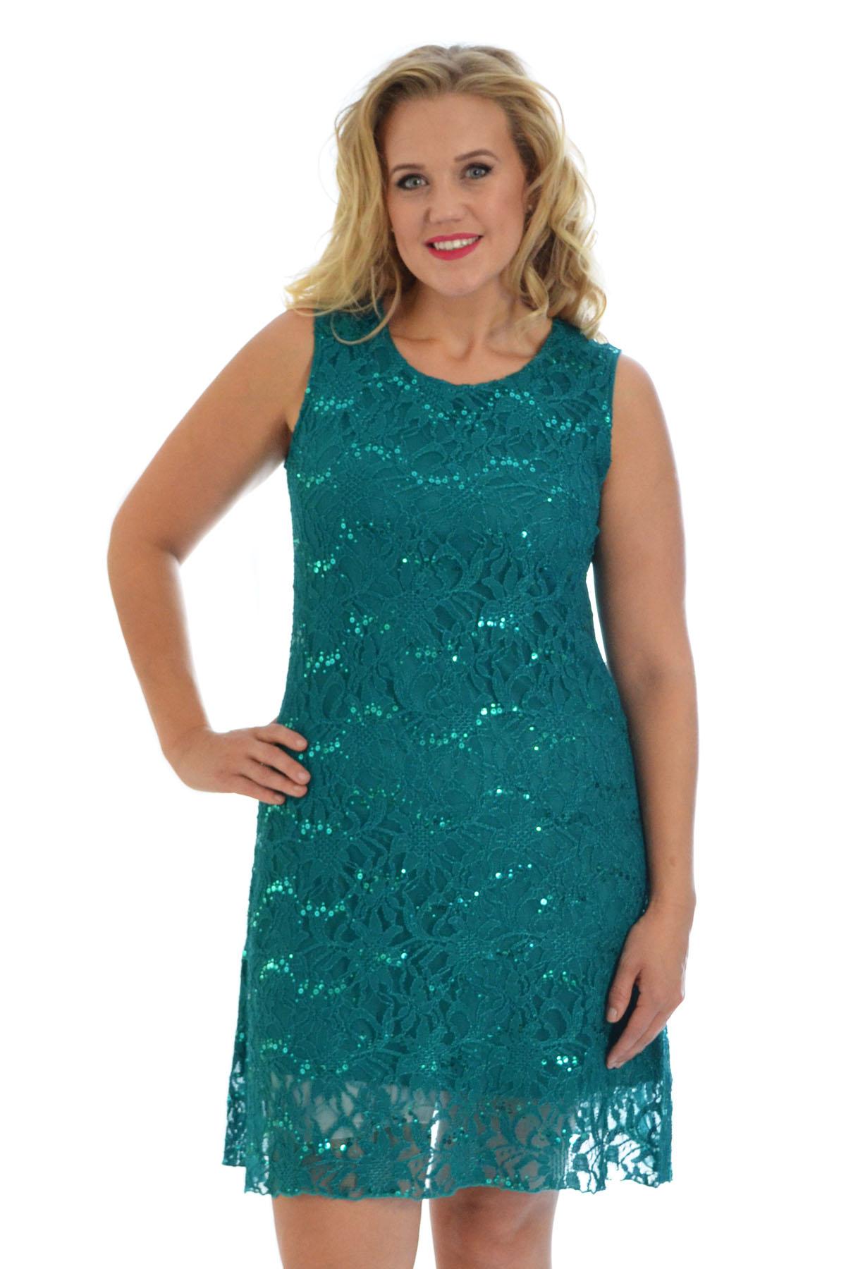 Womens Plus Size Dress Ladies Floral Lace Sequin Party Tunic ...