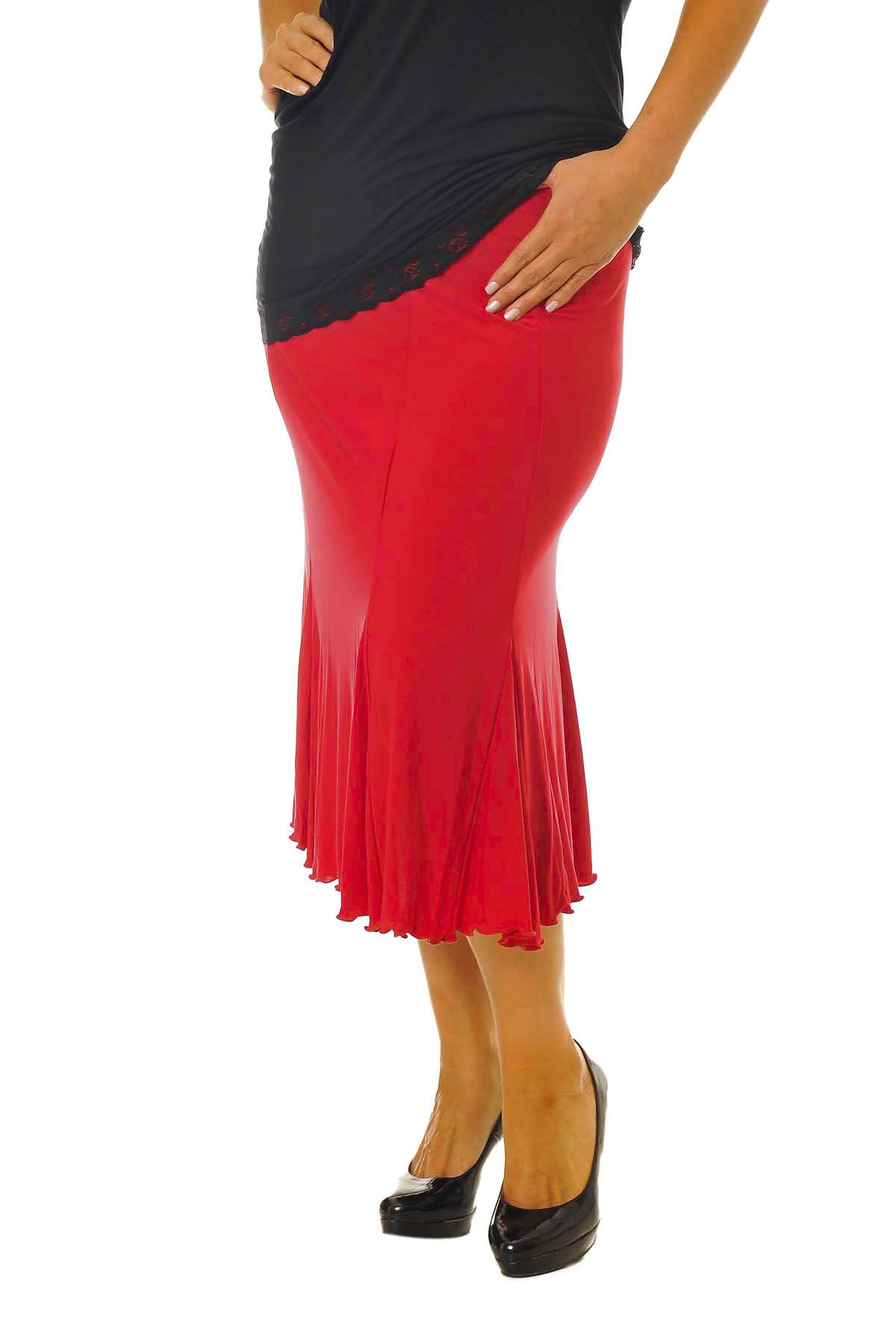 New-Womens-Skirt-Plus-Size-Ladies-Ity-Mid-Length-Flared-Formal-Midi-Nouvelle