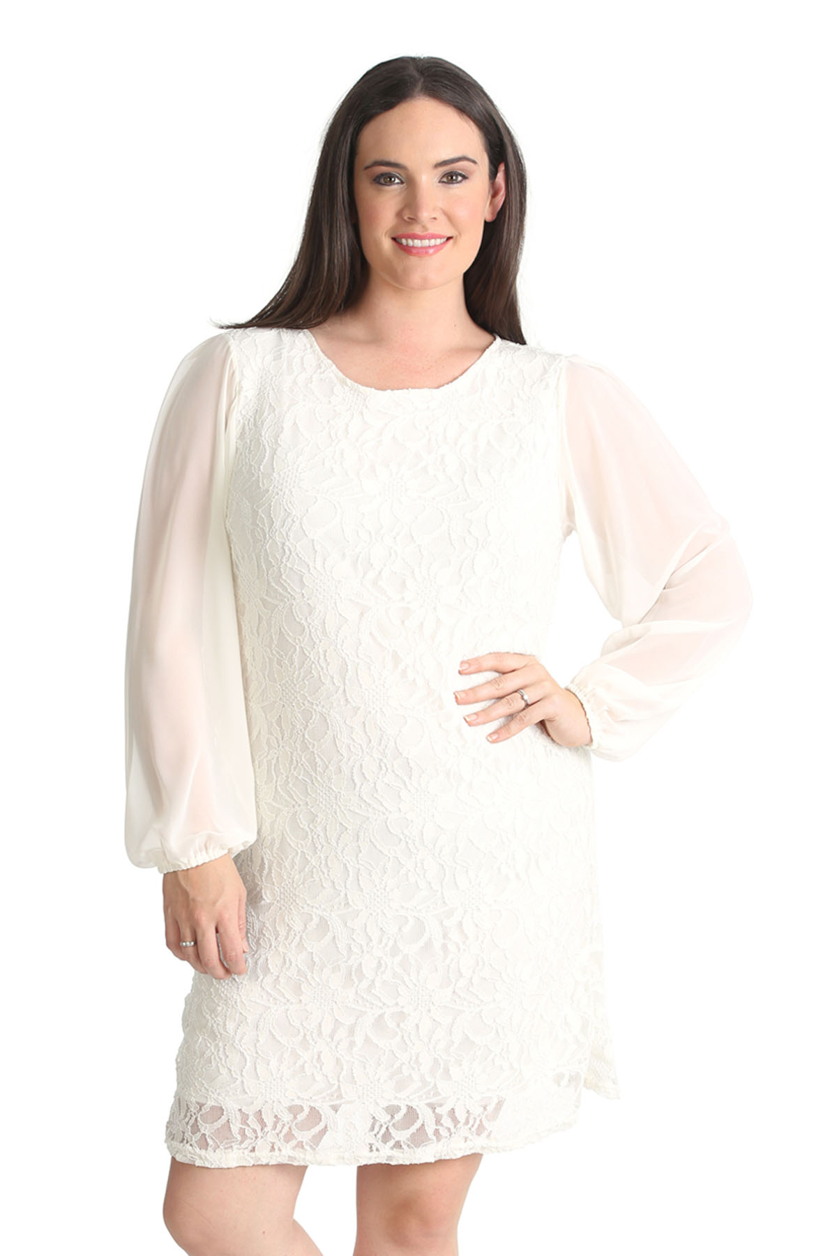 New Ladies Plus Size Dress Womens Floral Lace Chiffon