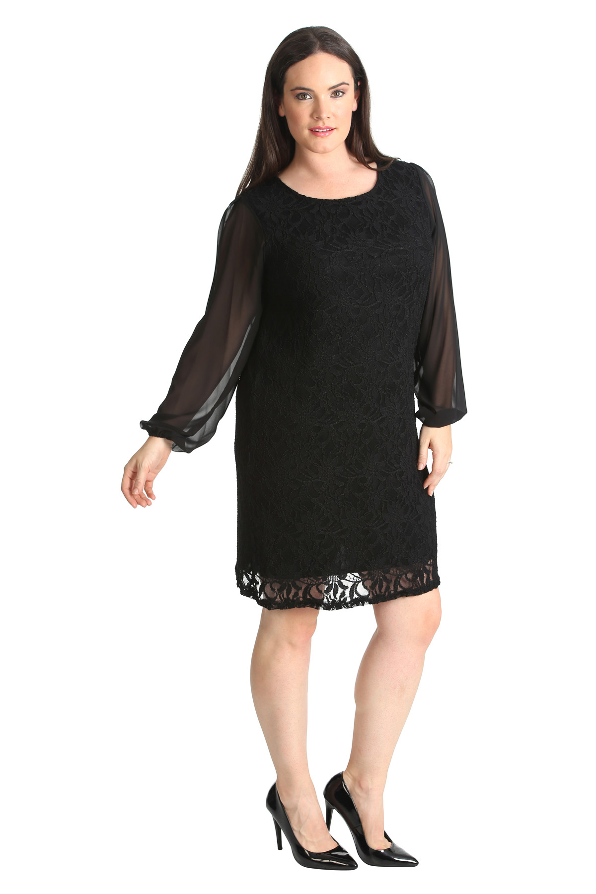 New Ladies Plus Size Dress Womens Floral Lace Chiffon ...
