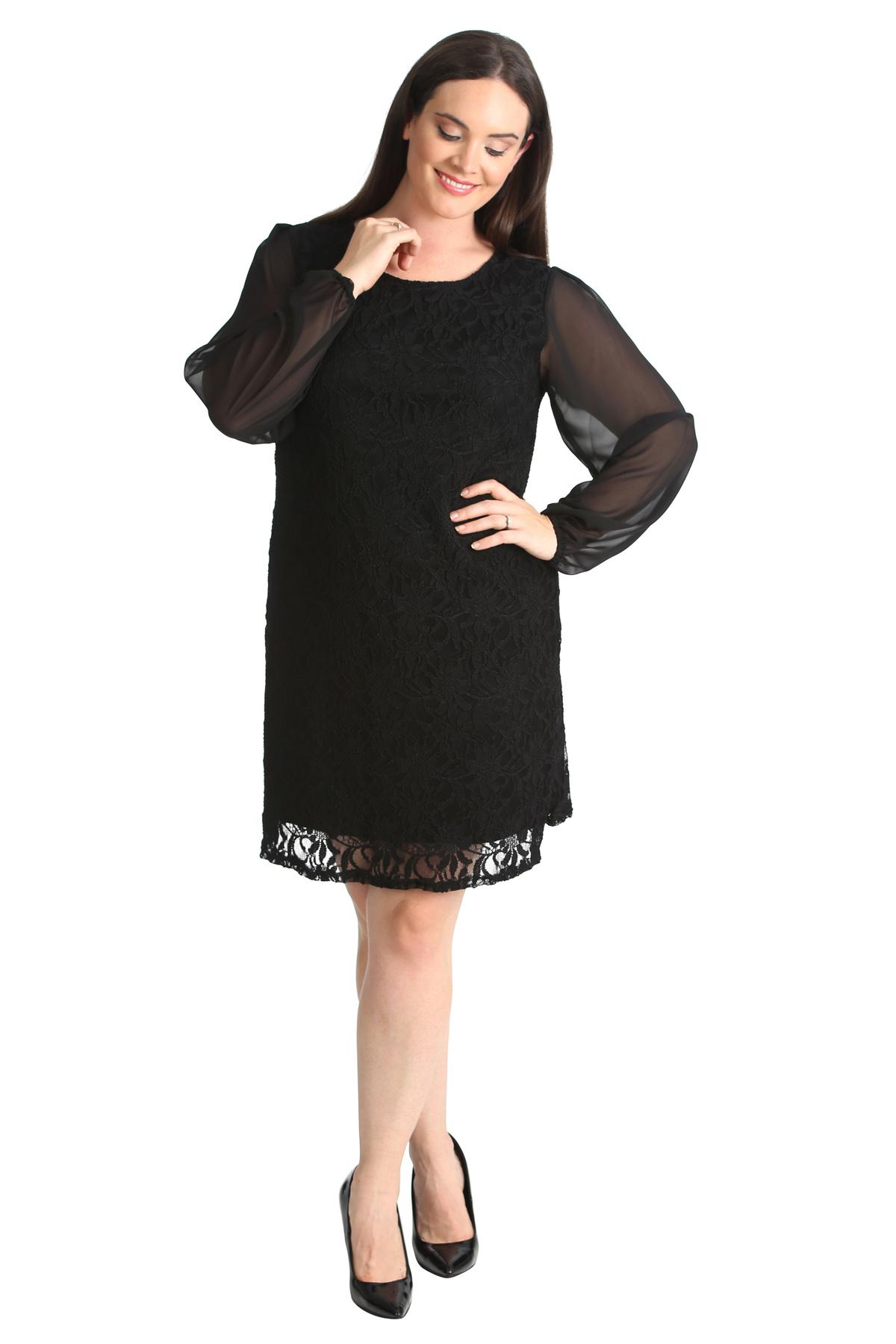 New Ladies Dress Plus Size Womens Floral Lace Chiffon ...