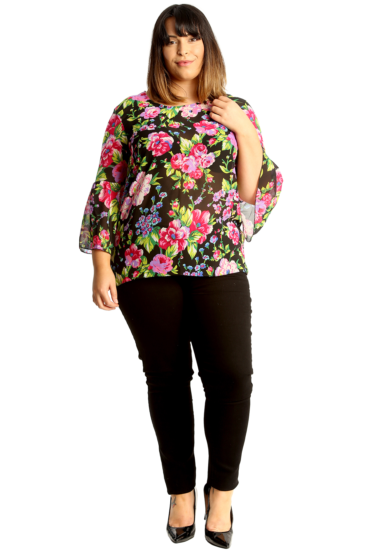New Womens Plus Size Chiffon Top Ladies Floral Print ...