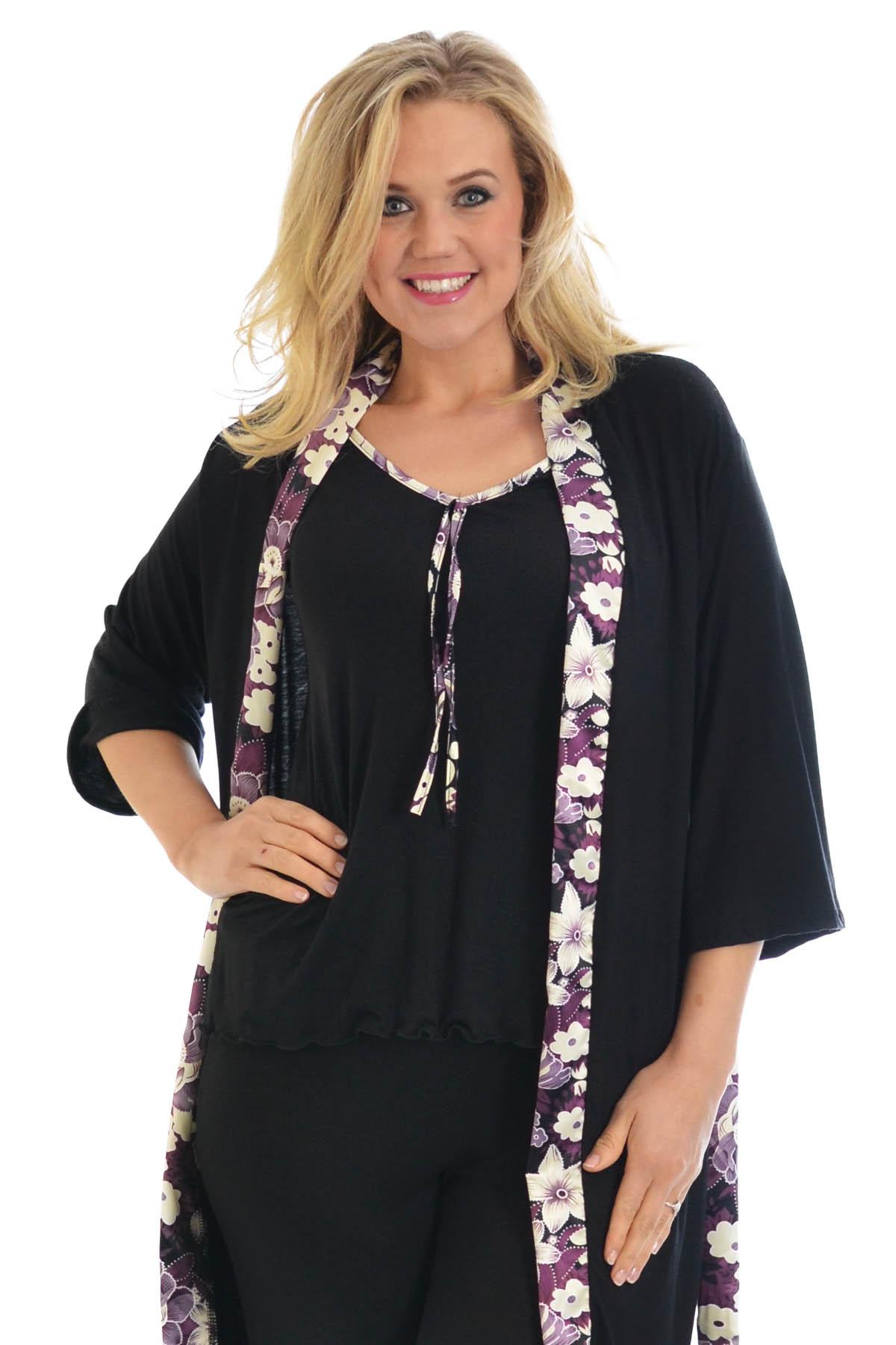 neue frauen bergr e kleid damen cami schlafanzug blumen satin trimmen pj set ebay. Black Bedroom Furniture Sets. Home Design Ideas