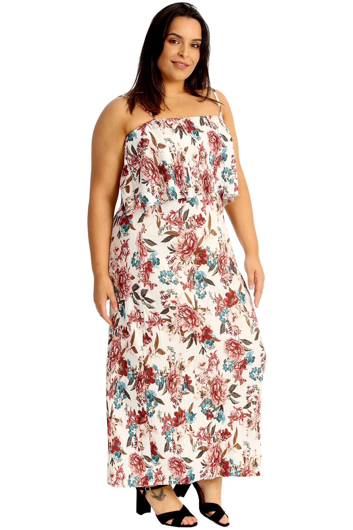 Details about New Women Plus Size Maxi Dress Ladies Floral Print Frill Top  Crinkle Pleated