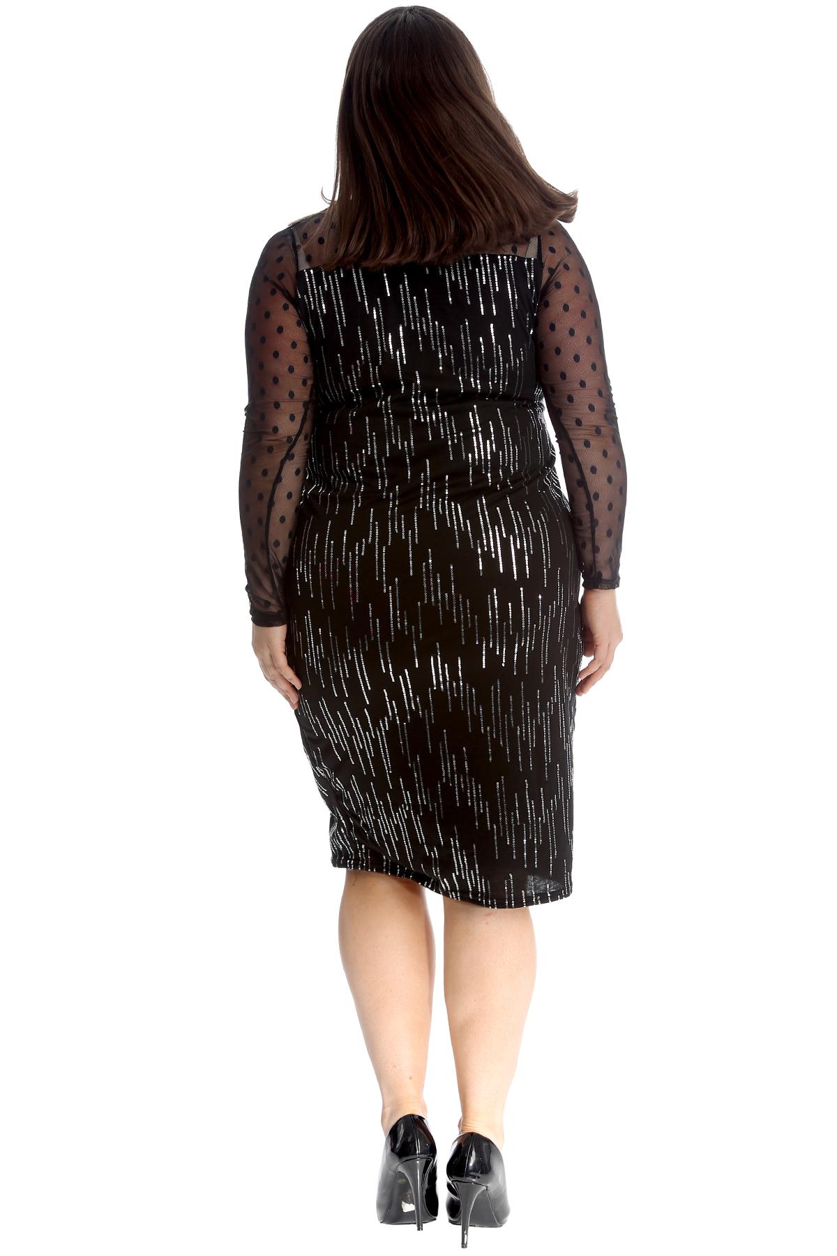 Neu Damen Übergröße Kleid Frauen Midi Bodycon Chiffon ...
