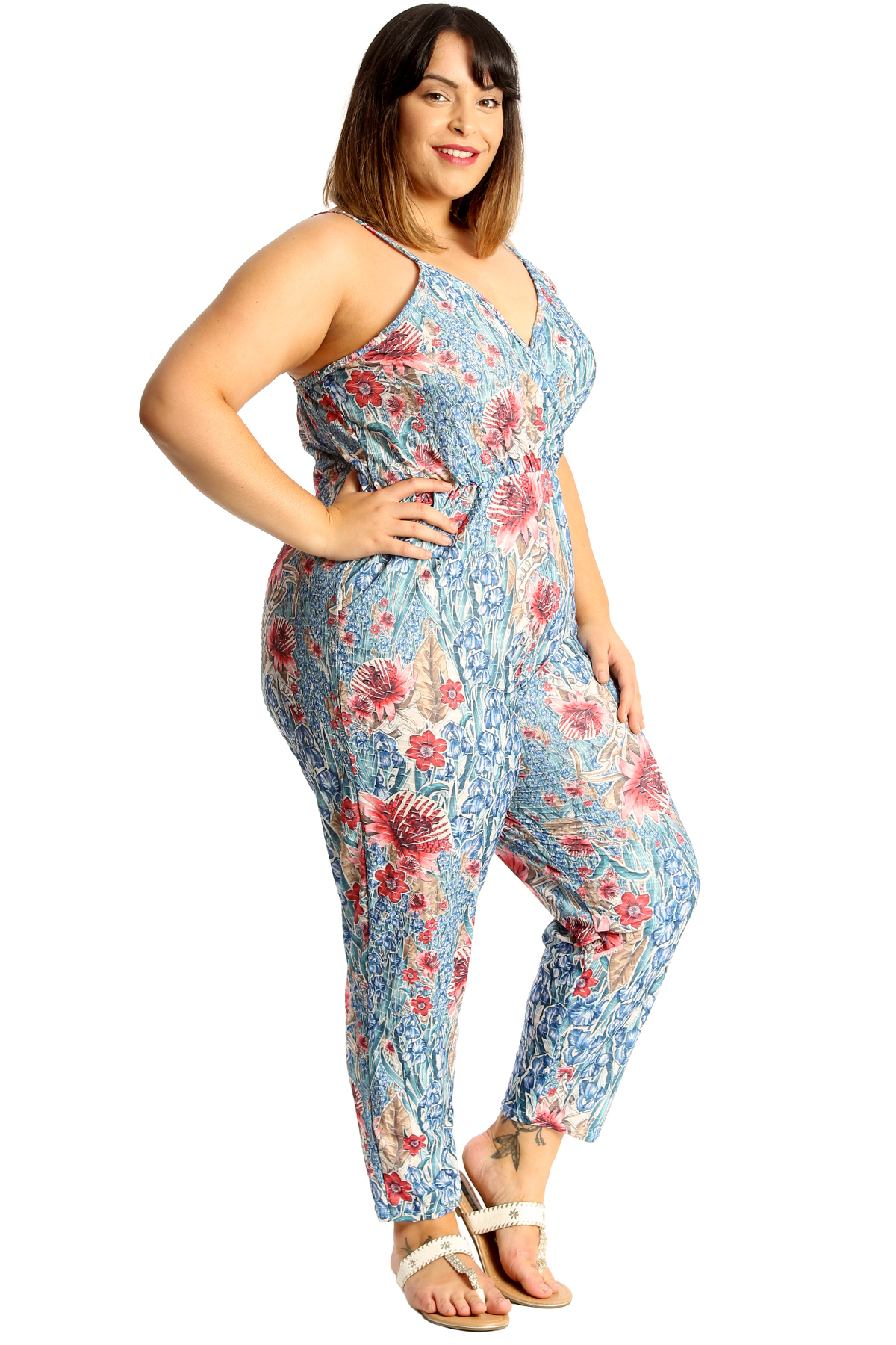 8722a8800e9 New Womens Plus Size Jumpsuit Ladies Denim Floral Print Thin Strap ...
