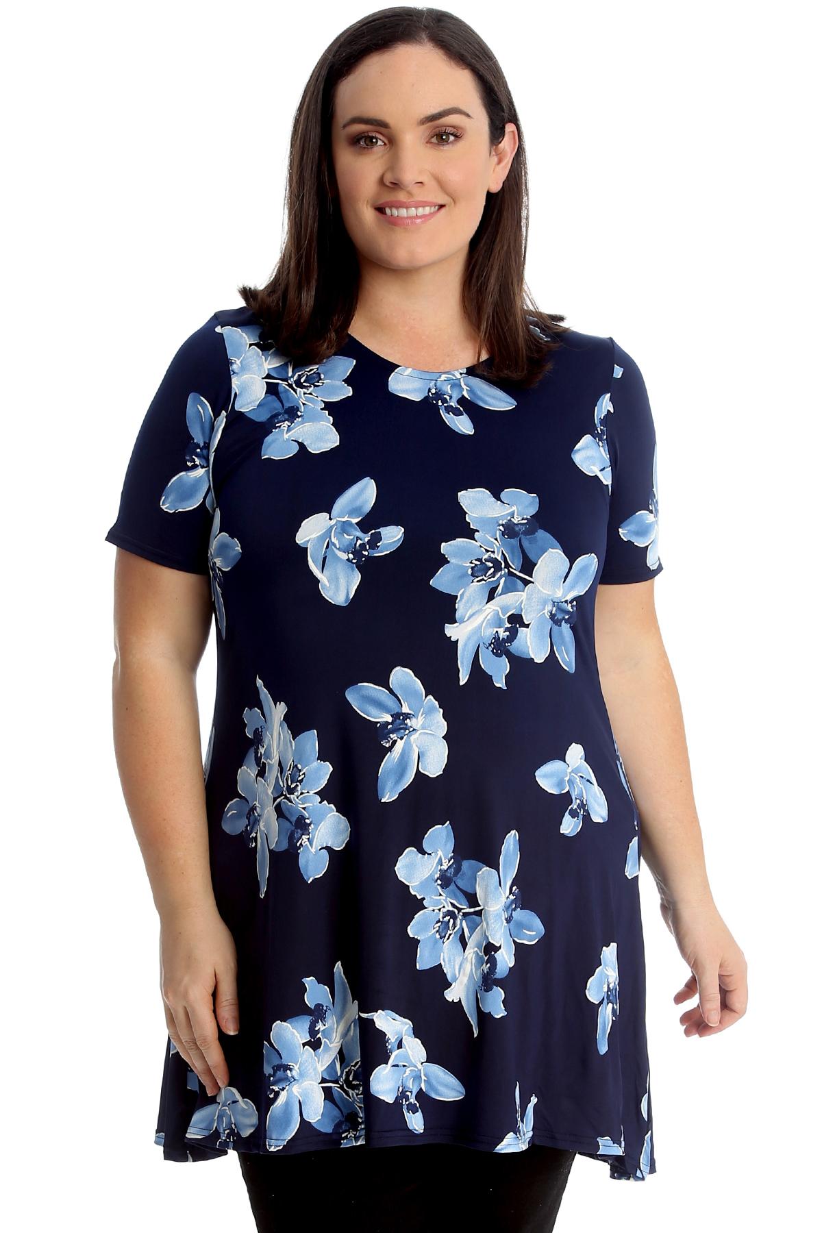 4f0cc299c8fcf6 Details about New Women Plus Size Swing Top Ladies Floral Print Tunic  A-Line Blouse Asymmetric