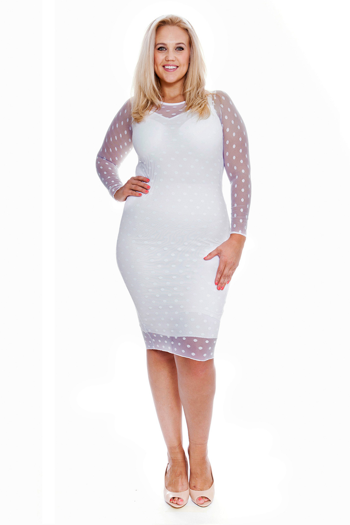 Womens Dress Ladies Plus Size Bodycon Sweetheart Midi Polka Dot Lace ...