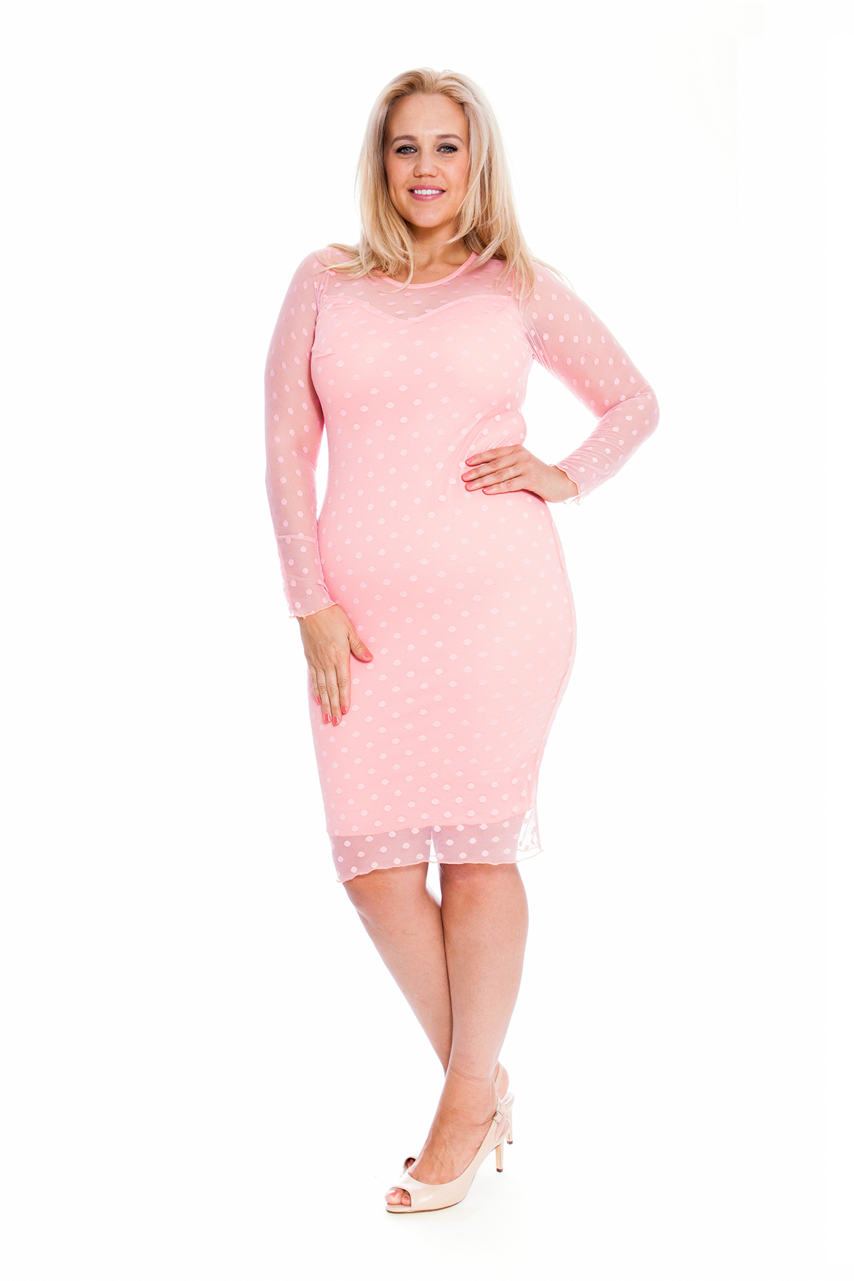 New Ladies Plus Size Dress Women Lace Polka Dot Midi Party ... - photo #45