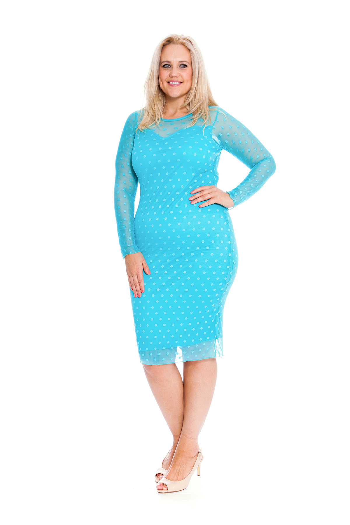 New Ladies Plus Size Dress Women Lace Polka Dot Midi Party ...