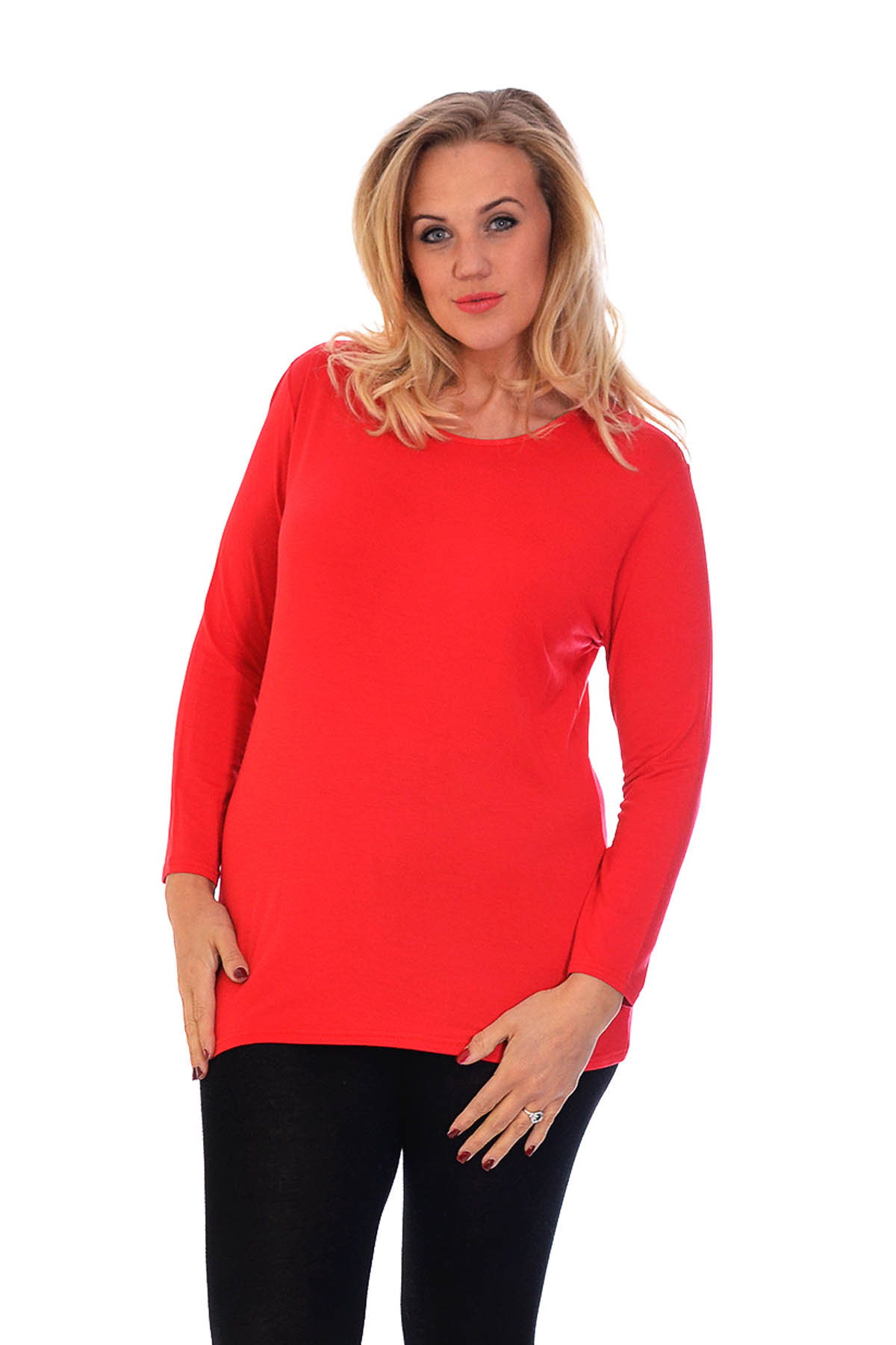 New ladies plus size top womens t shirt plain long sleeve for 3 4 sleeve t shirts plus size