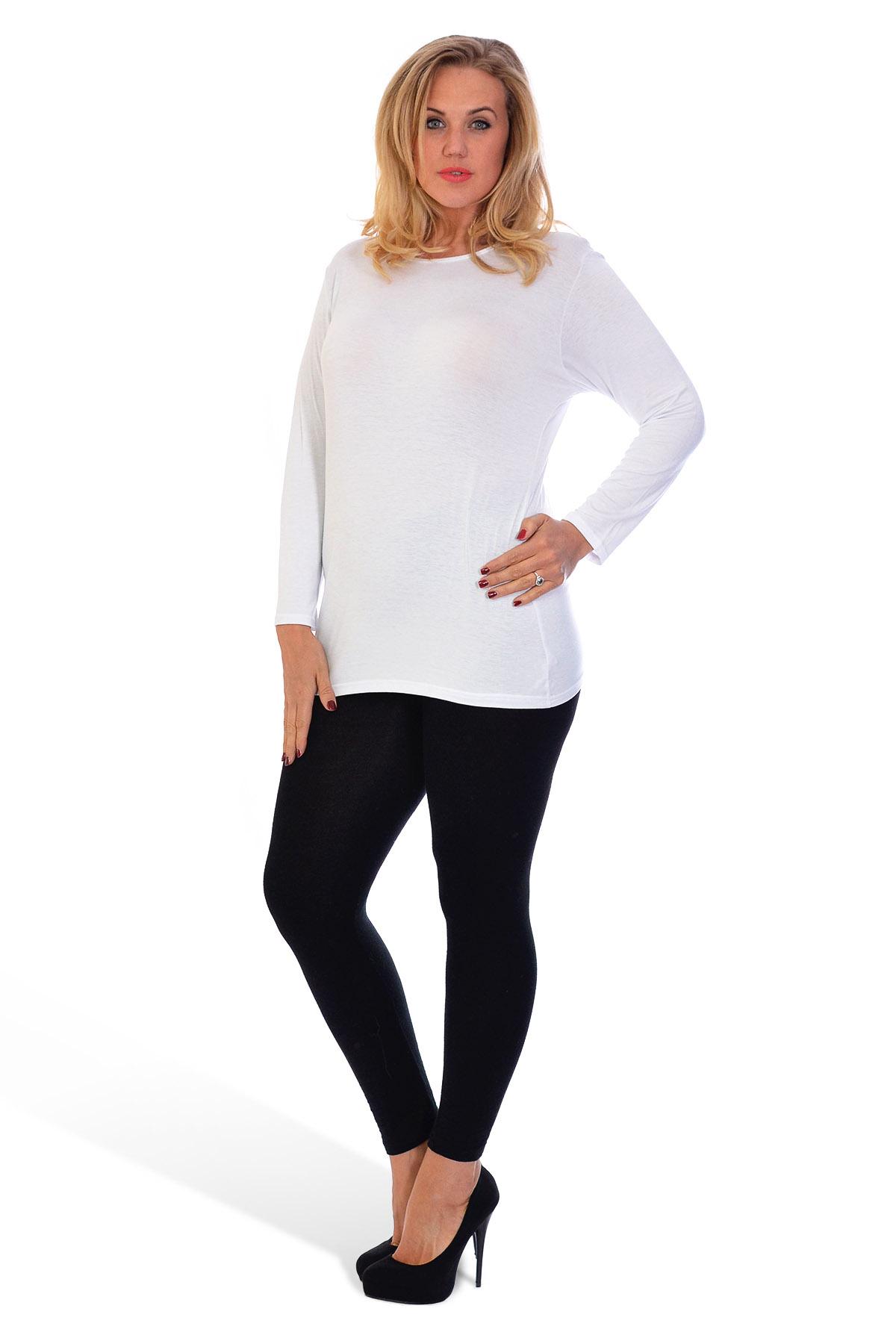 thumbnail 11 - New-Ladies-Plus-Size-T-Shirt-Womens-Top-Plain-Long-Sleeve-Basic-Nouvelle