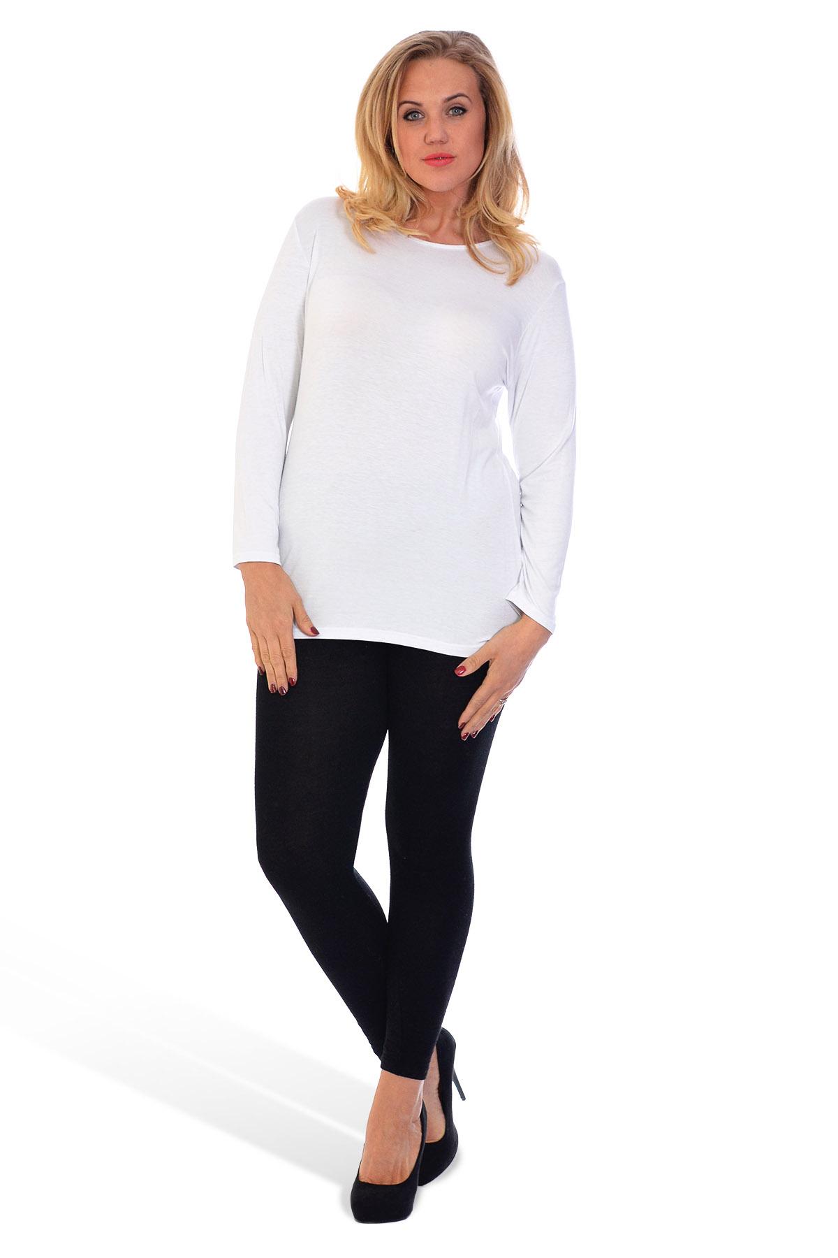 thumbnail 12 - New-Ladies-Plus-Size-T-Shirt-Womens-Top-Plain-Long-Sleeve-Basic-Nouvelle