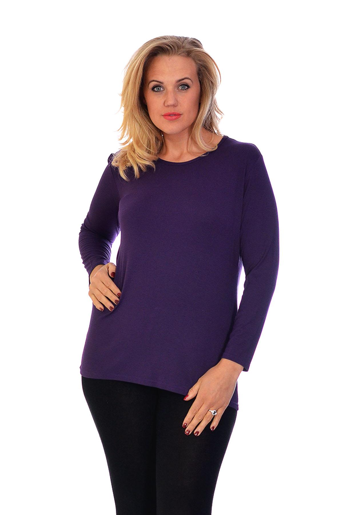New Ladies T-Shirt Plus Size Womens Top Plain Long Sleeve ...