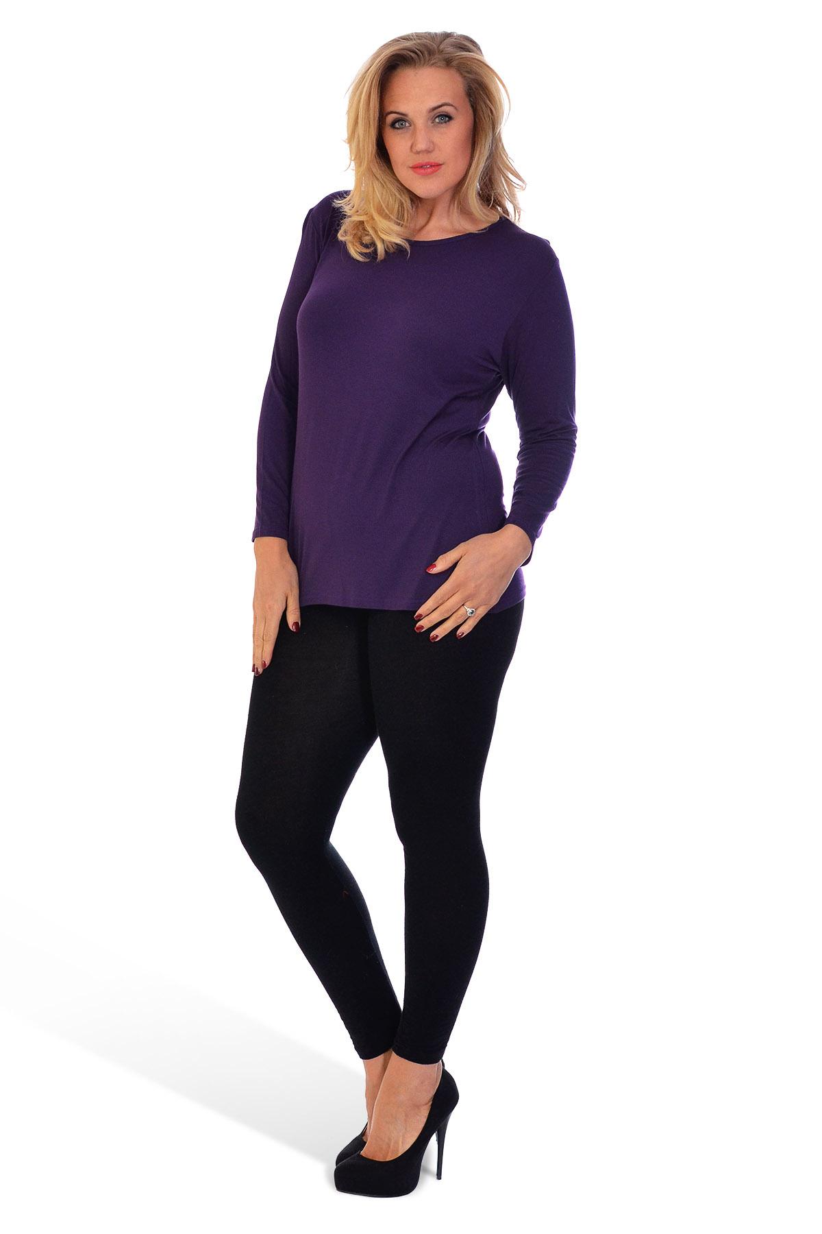 thumbnail 6 - New-Ladies-Plus-Size-T-Shirt-Womens-Top-Plain-Long-Sleeve-Basic-Nouvelle