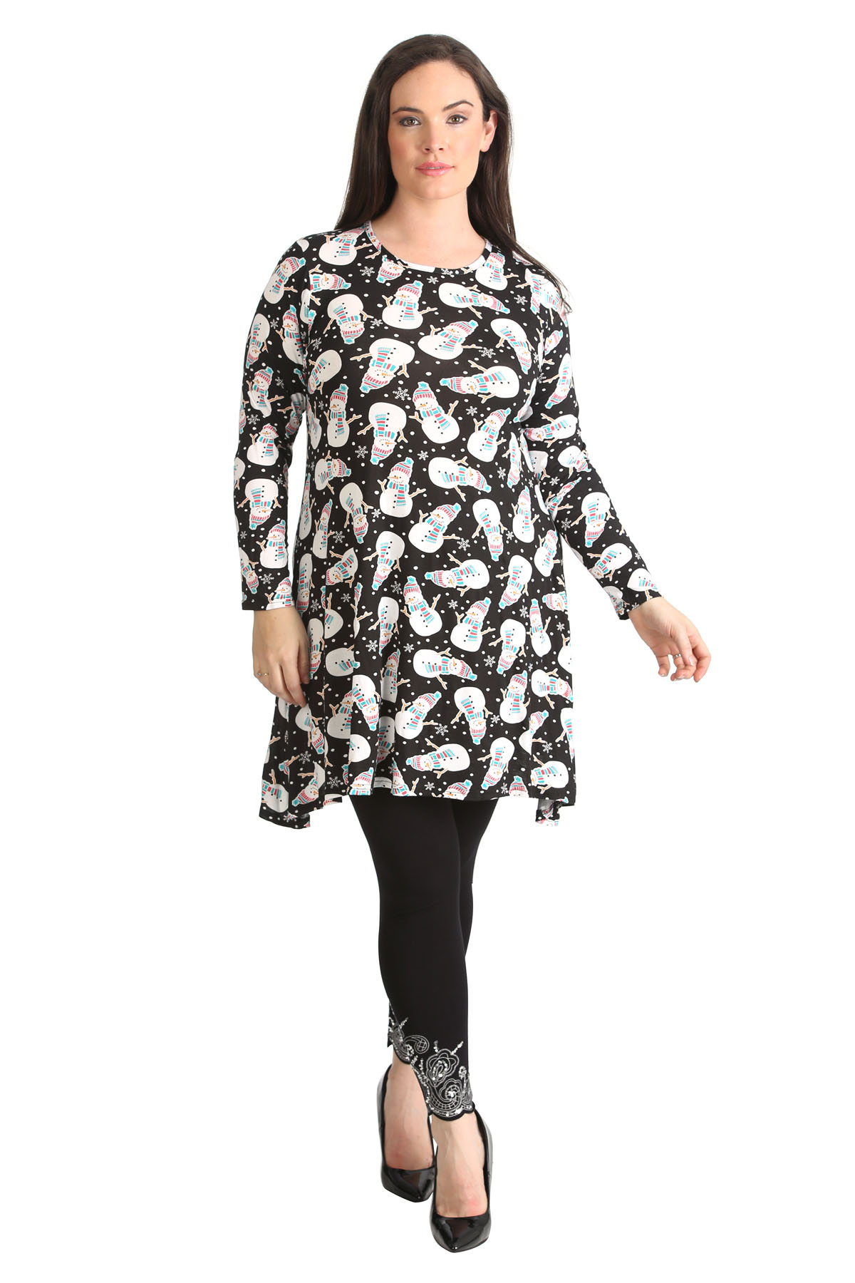 Womens Dress Ladies Plus Size Snowman Print Christmas