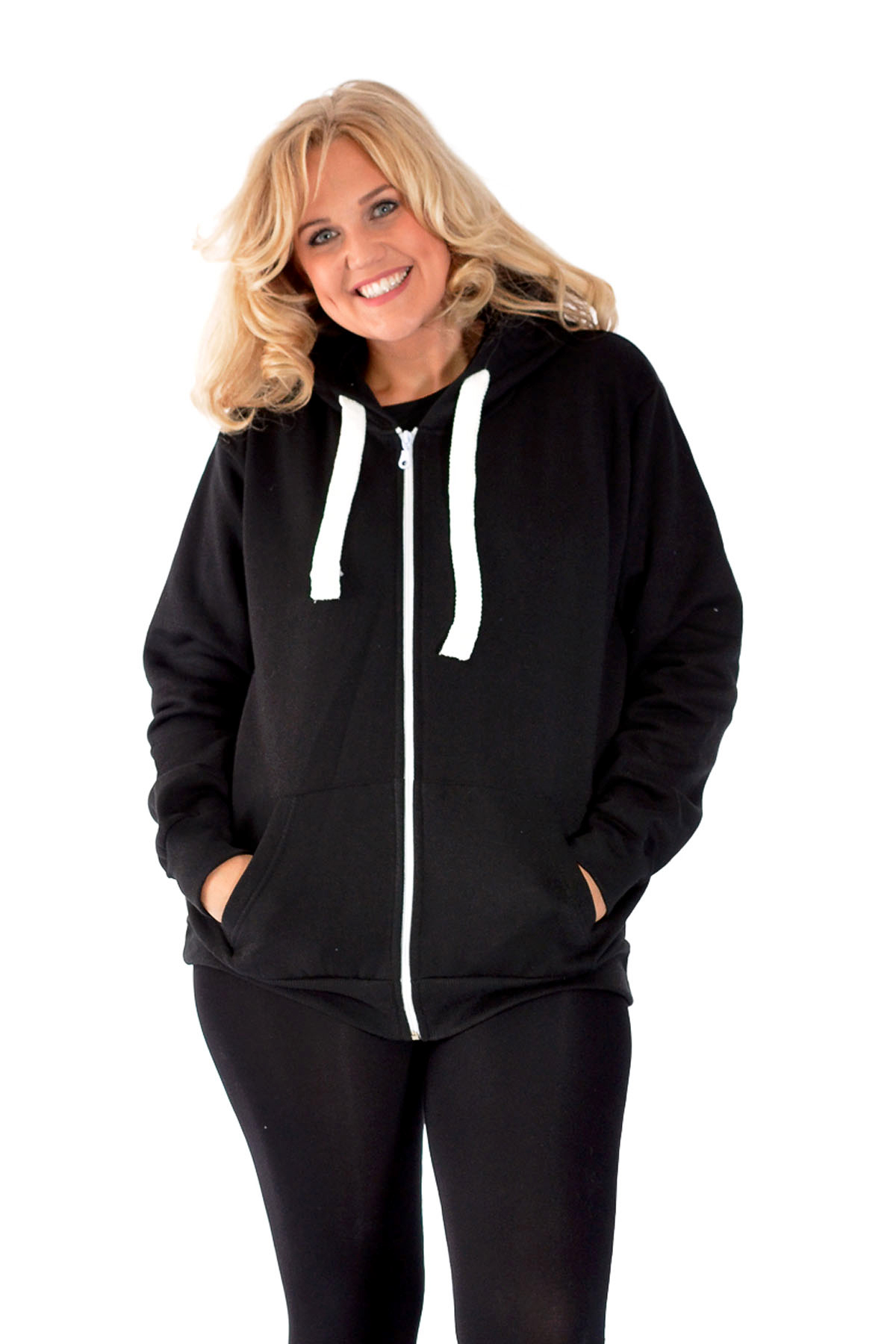 ef12b01d761 Details about New Womens Plus Size Hoodies Ladies Plain Sweat Top  Drawstrings Hooded Sale Soft