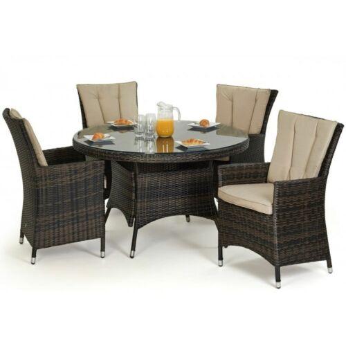 Atlanta Rattan Garden Furniture 4 Seater Brown Round Dining Table Set 7426763261121 Ebay