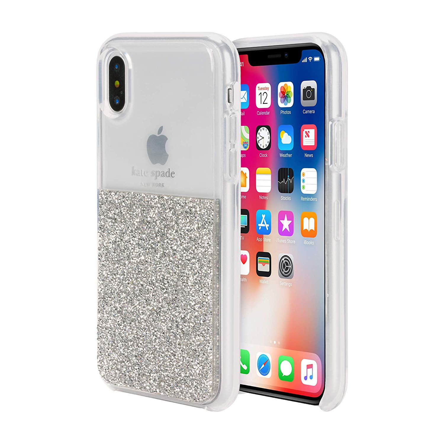5c451b914b7e Details about KATE SPADE NEW YORK HALF CLEAR CRYSTAL CASE FOR IPHONE XS MAX  - SILVER