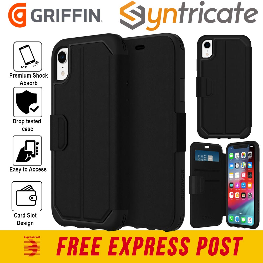 sports shoes bddef ffc9d Details about GRIFFIN SURVIVOR STRONG CARD WALLET FOLIO CASE FOR IPHONE XR  (6.1