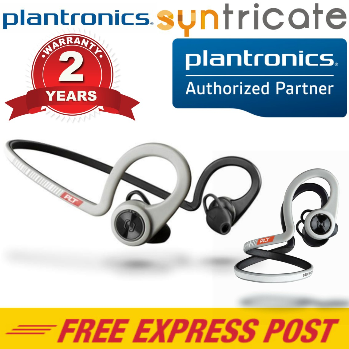5dca4f27f7c Details about Plantronics BackBeat FIT Wireless Bluetooth Waterproof  Headphones - Sport Grey