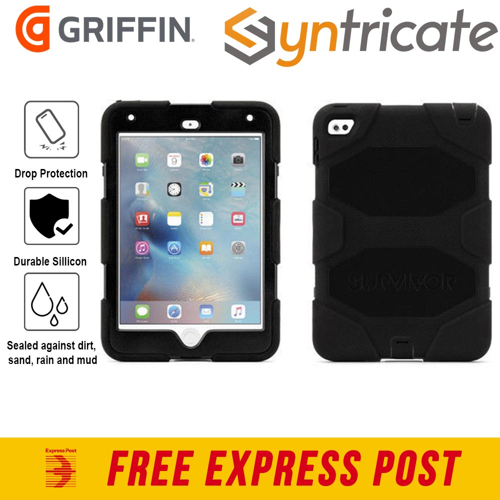 on sale 7069f c4868 Details about Griffin Survivor All-Terrain Rugged Case/Cover/Stand for iPad  mini 4 - Black