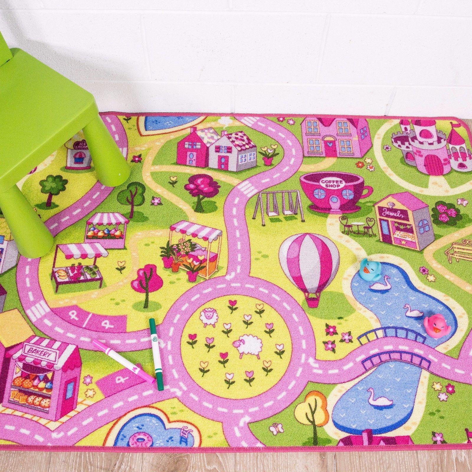 Rugs Children S Rugs Kids Play Mat Girls Boys Fun Rug Pink