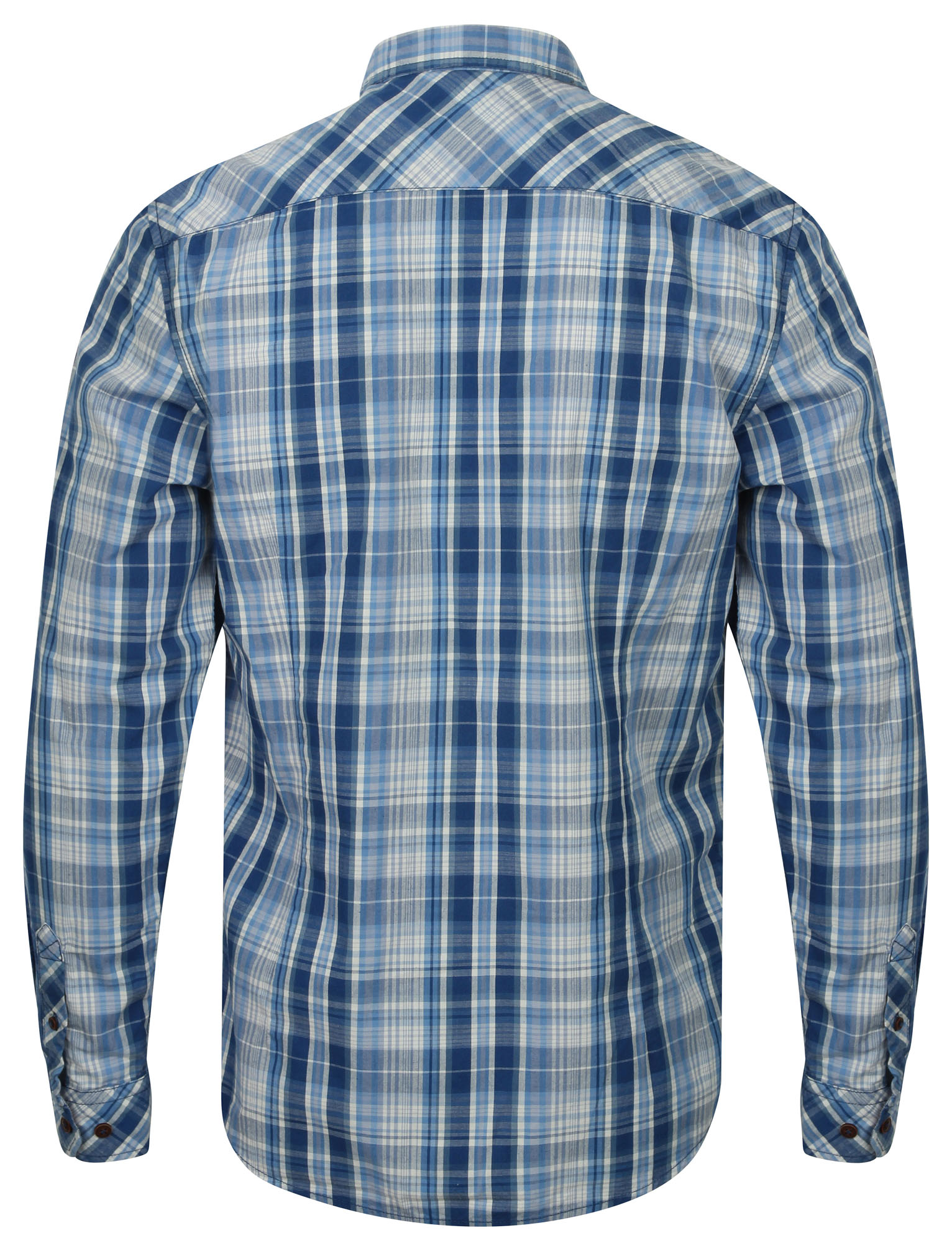 Mens Tokyo Laundry Vierra Zip Through Cotton Check Long Sleeve Shirt Size S-XL
