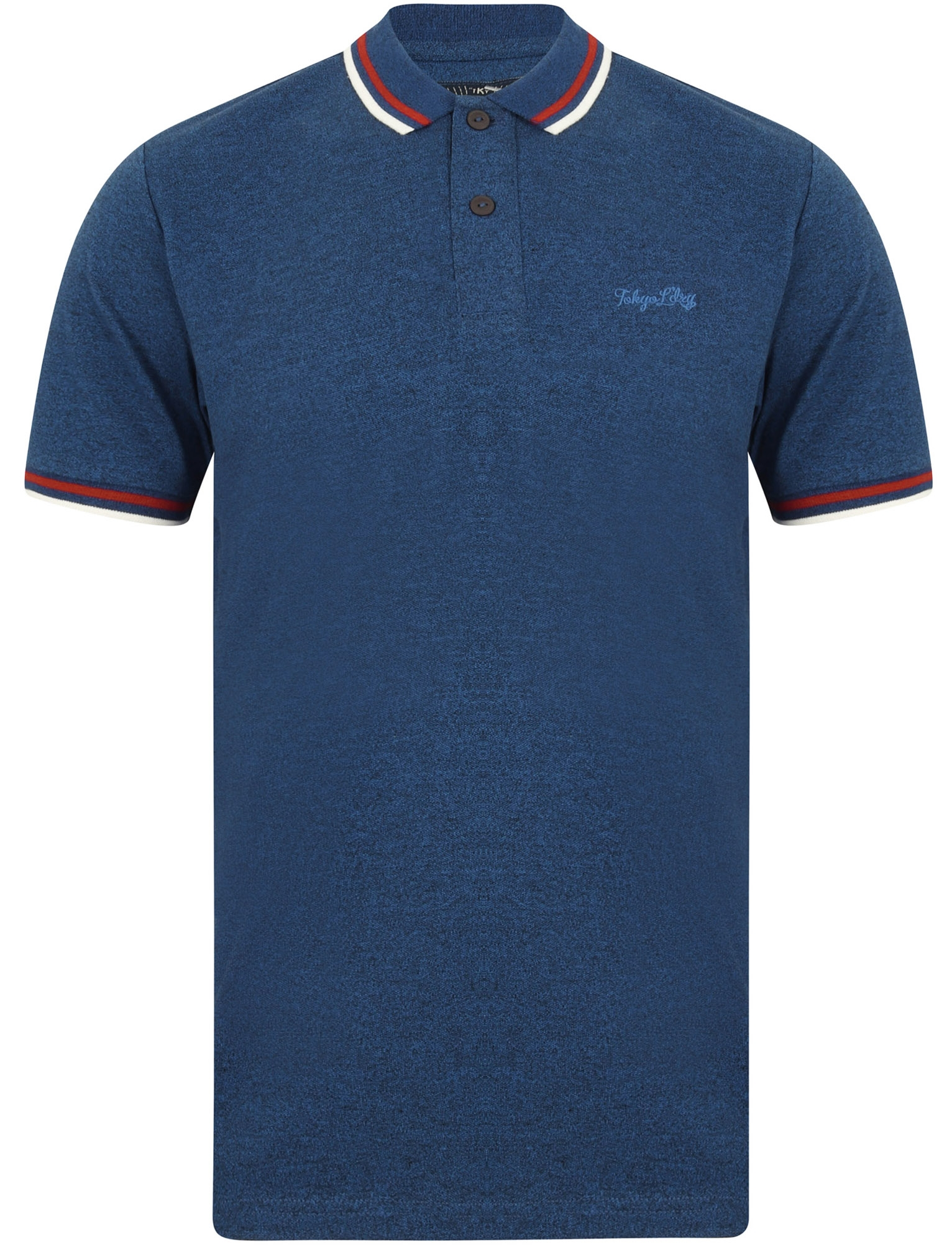 Mens Tokyo Laundry Finley Point Polo Shirt In Navy Short Sleeve Ribbed Cuffs