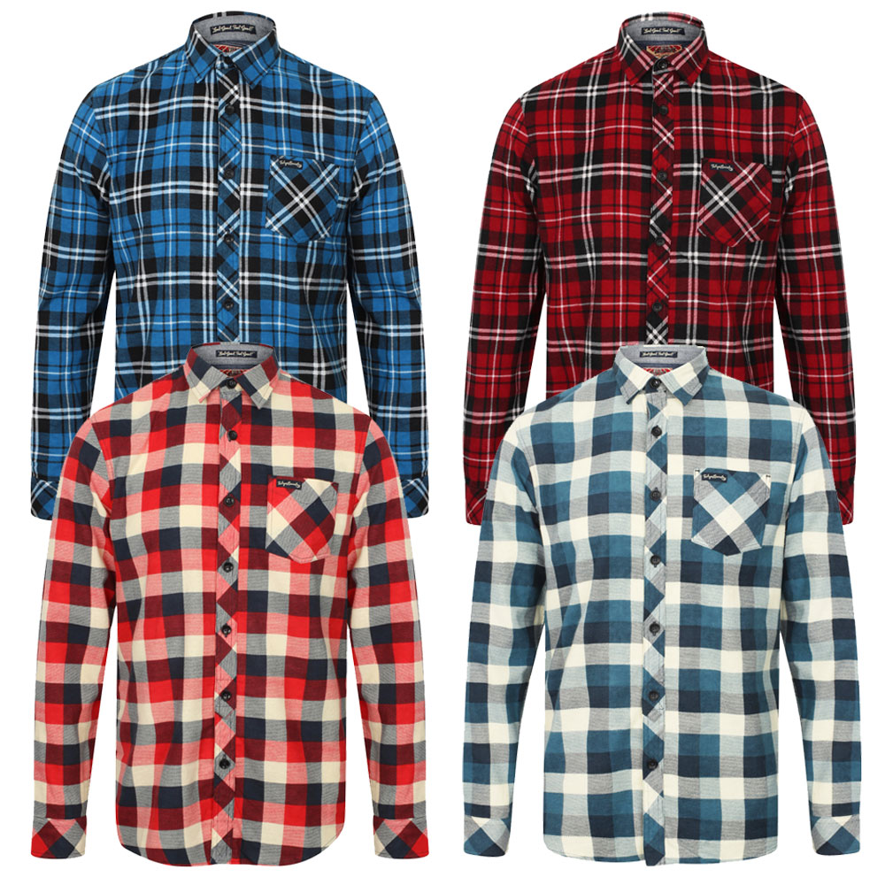 Mens Check Shirt Tokyo Laundry Cotton Long Sleeve Casual Top Collared New S-XL