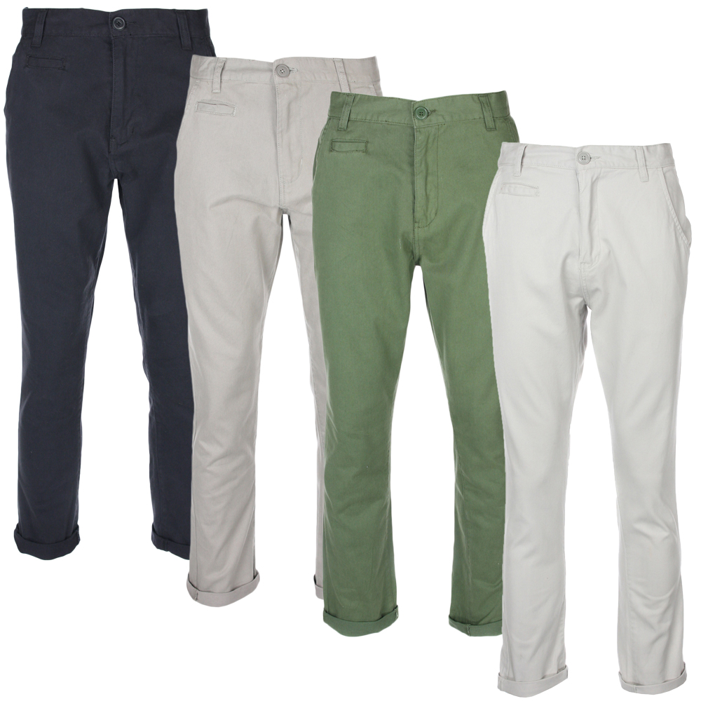100/%Cotton Mens Chinos Jeans Smart Casual Trousers Cargo Slim Fit Long Pants UK