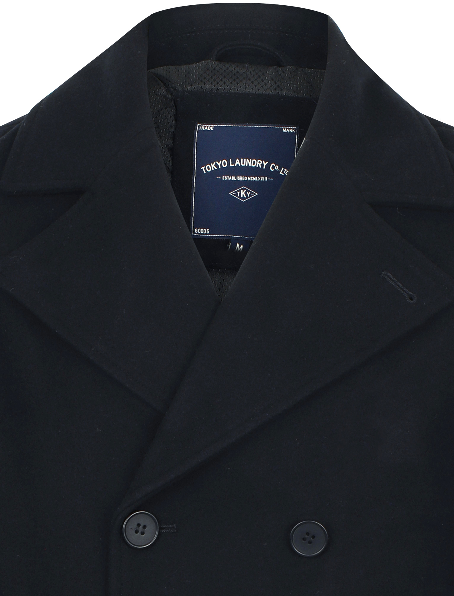 New-Mens-Tokyo-Laundry-Branded-Wool-Blend-Peacoat-Duffle-Coat-Size-S-XXL thumbnail 5