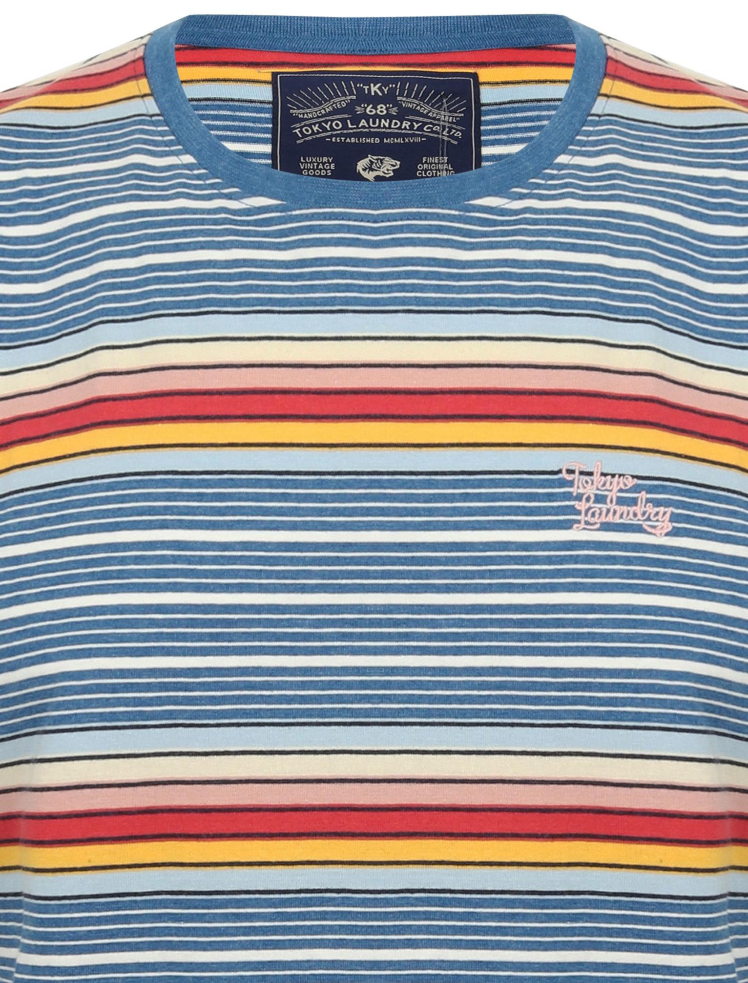 Tokyo-Laundry-Men-039-s-Lowell-Crew-Neck-Striped-T-Shirt-Stripy-Retro-Rainbow-Top thumbnail 4